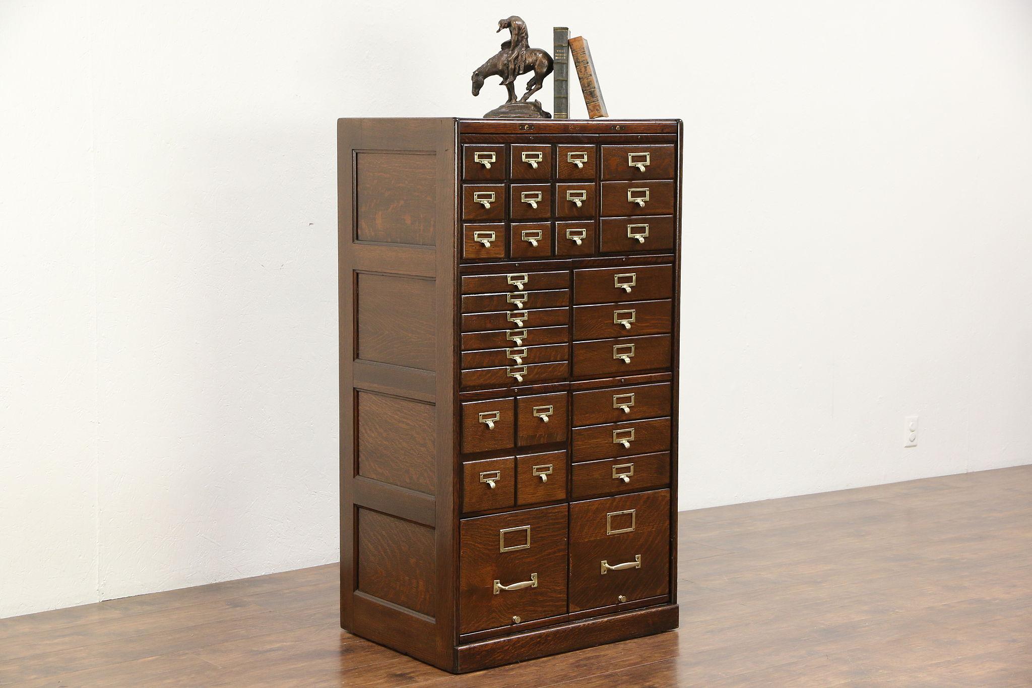 Oak 30 Drawer Antique 1915 File Cabinet, Original Brasses, Signed Macey