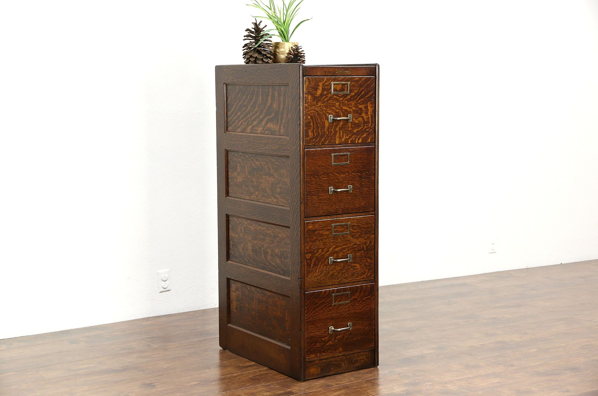 sold - quartersawn oak 1910 antique 4 drawer file cabinet, signed 4 file cabinet
