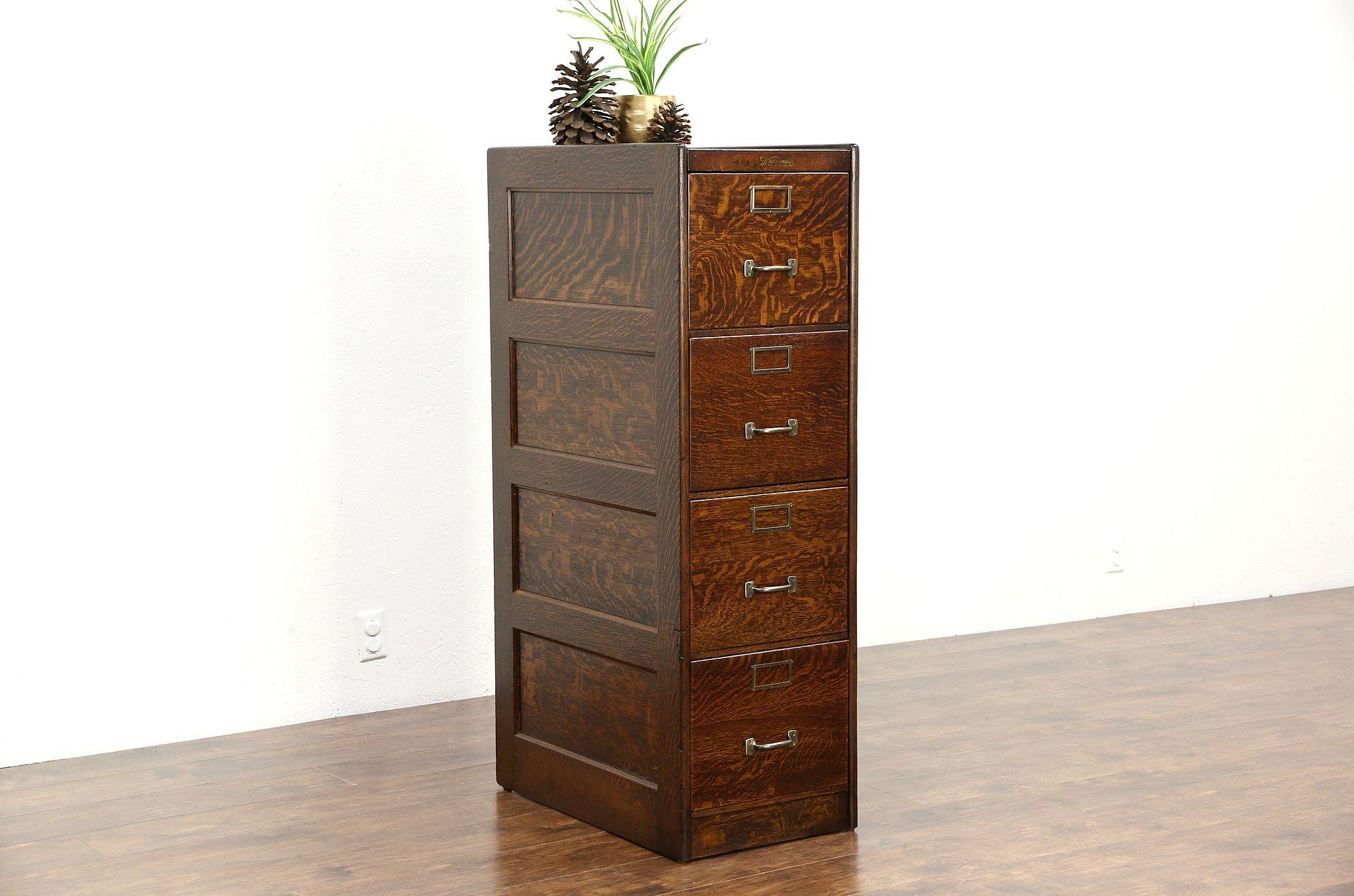 Sold Quartersawn Oak 1910 Antique 4 Drawer File Cabinet Signed Wagemaker Mi Harp Gallery