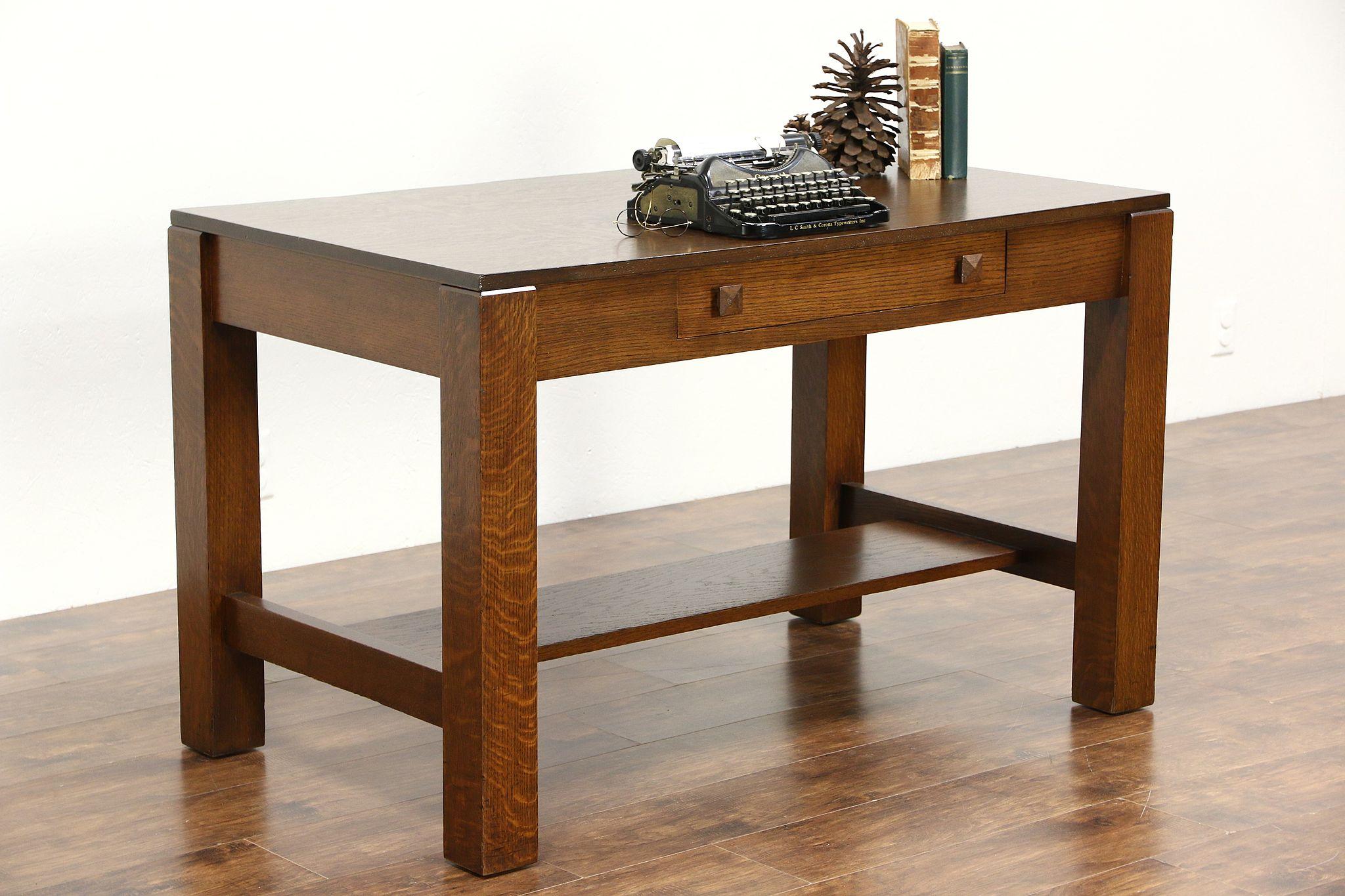 Arts Crafts Mission Oak 1905 Antique Library Table Or Craftsman Writing Desk