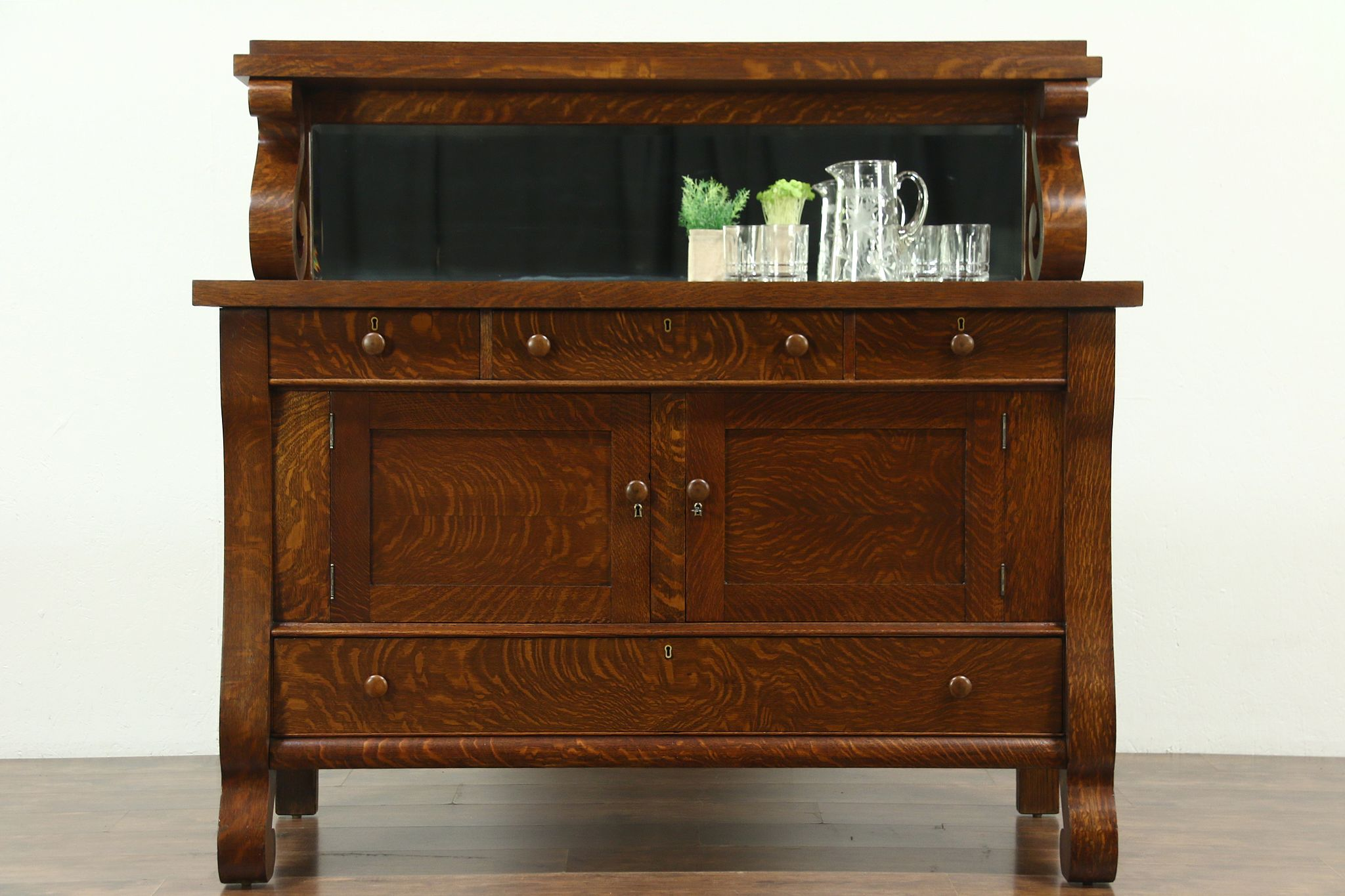 Oak Empire 1900 Antique Sideboard Server Or Buffet Beveled Mirror 28679