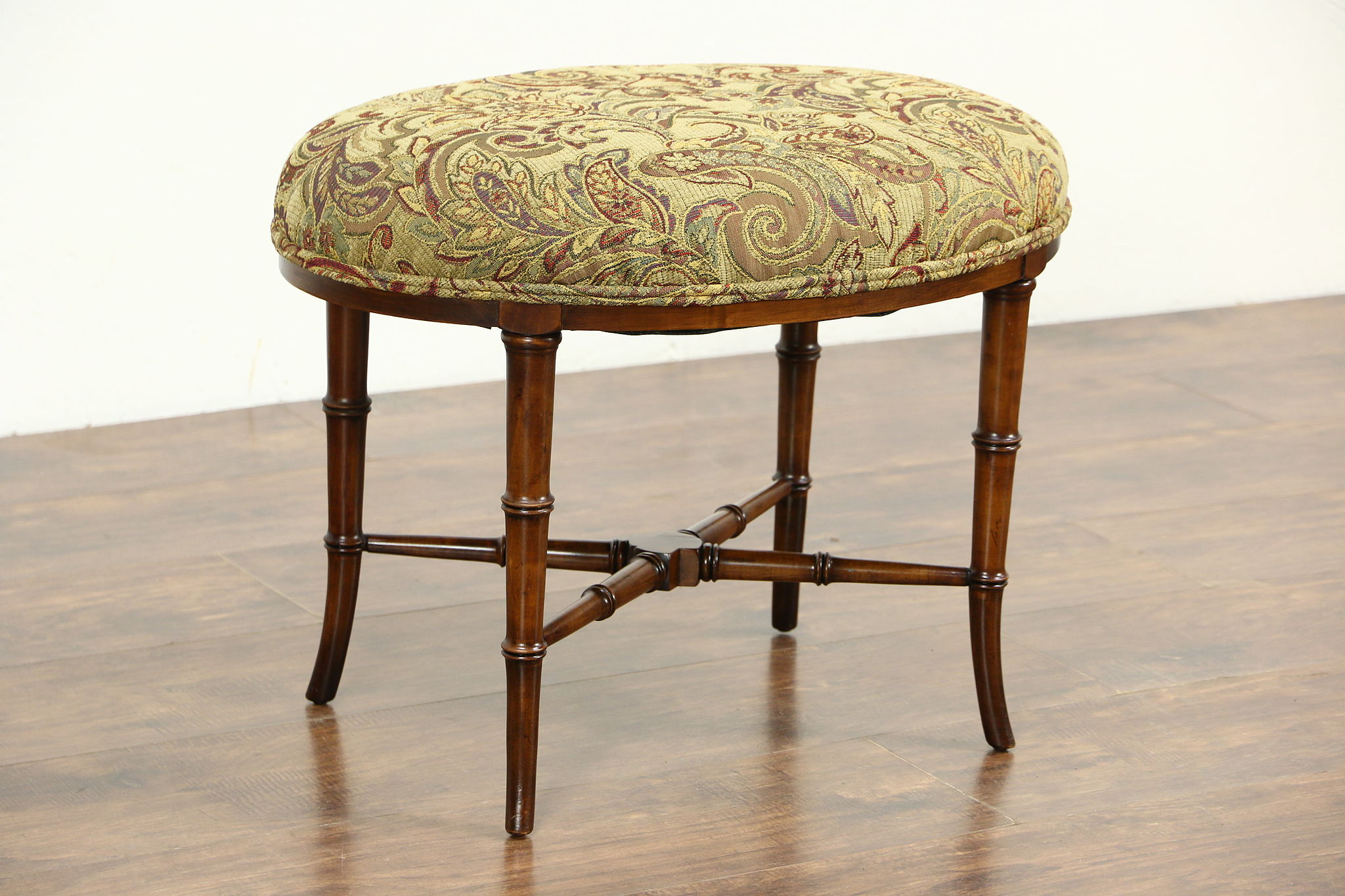 Oval Vintage Fruitwood Bamboo Stool or Bench, New Upholstery ...
