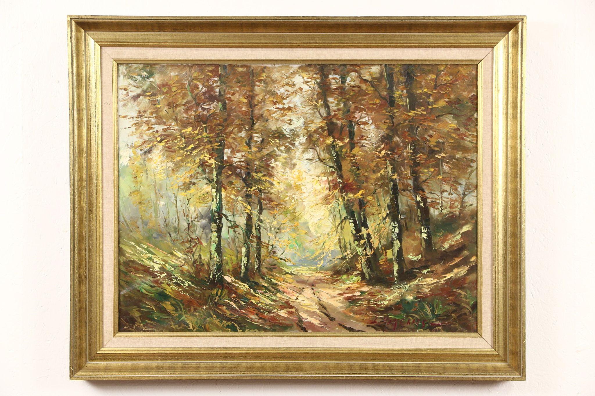 SOLD - Autumn Forest Path, Original Scandinavian Oil Painting ...