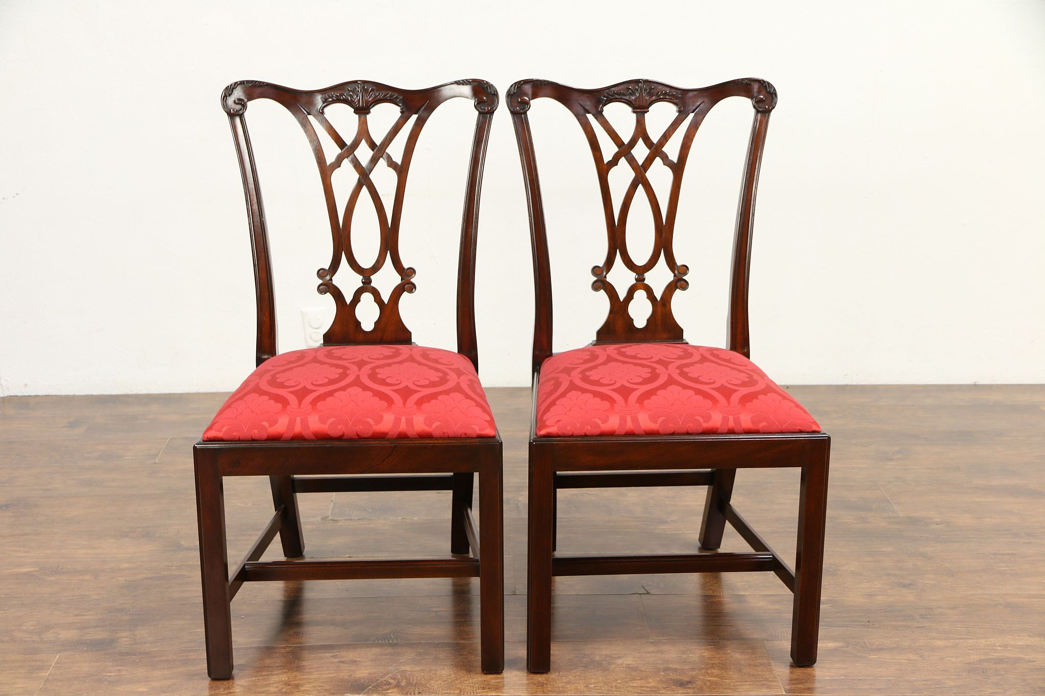Pair Traditional Mahogany Vintage Dining Or Library Chairs Henkel Harris  #30161 Photo