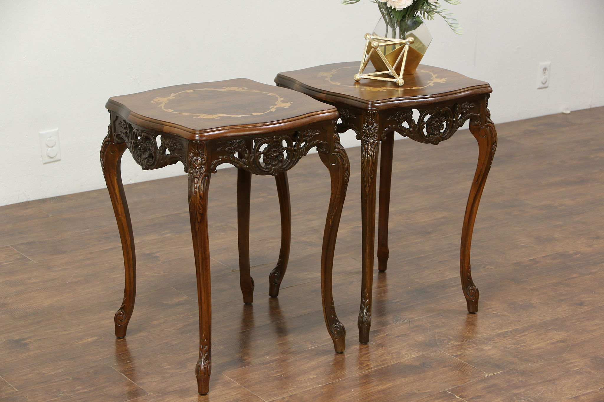 Pair Carved Vintage End or Lamp Tables Inlaid Marquetry & Burl