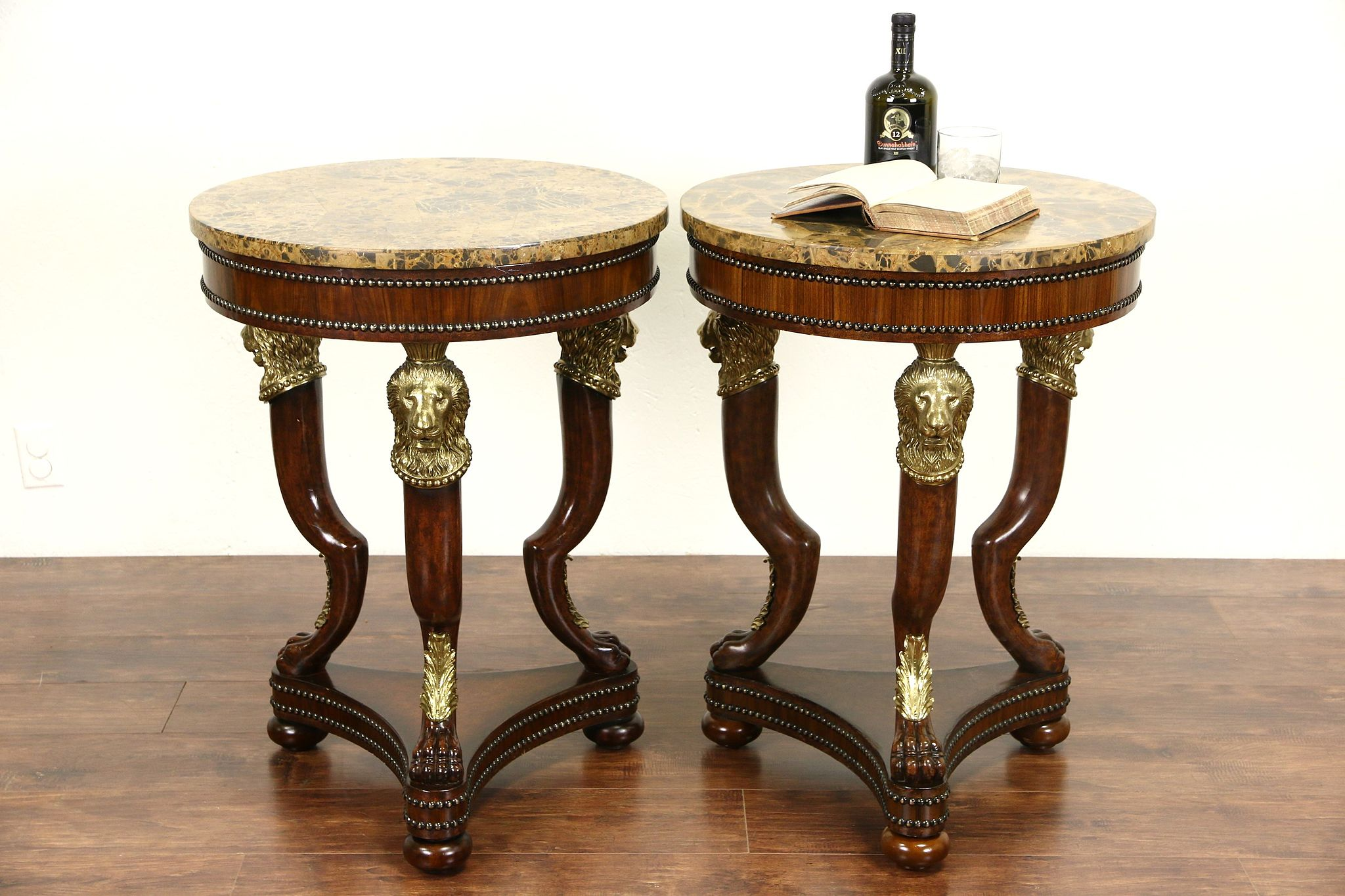 Pair Of Maitland Smith Signed Marble Top Lamp Tables Brass Lion Heads