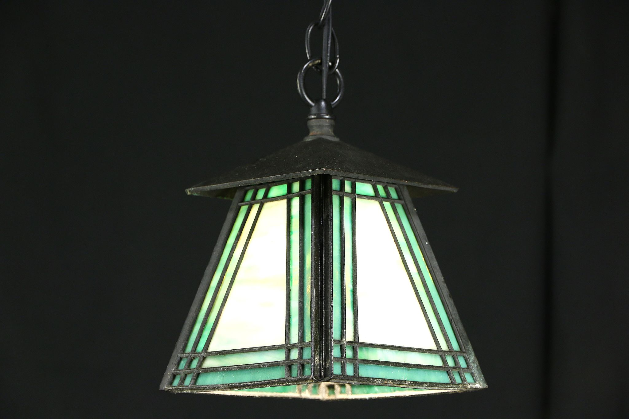 Arts Crafts Antique Leaded Stained Glass Pendant Ceiling Light Fixture