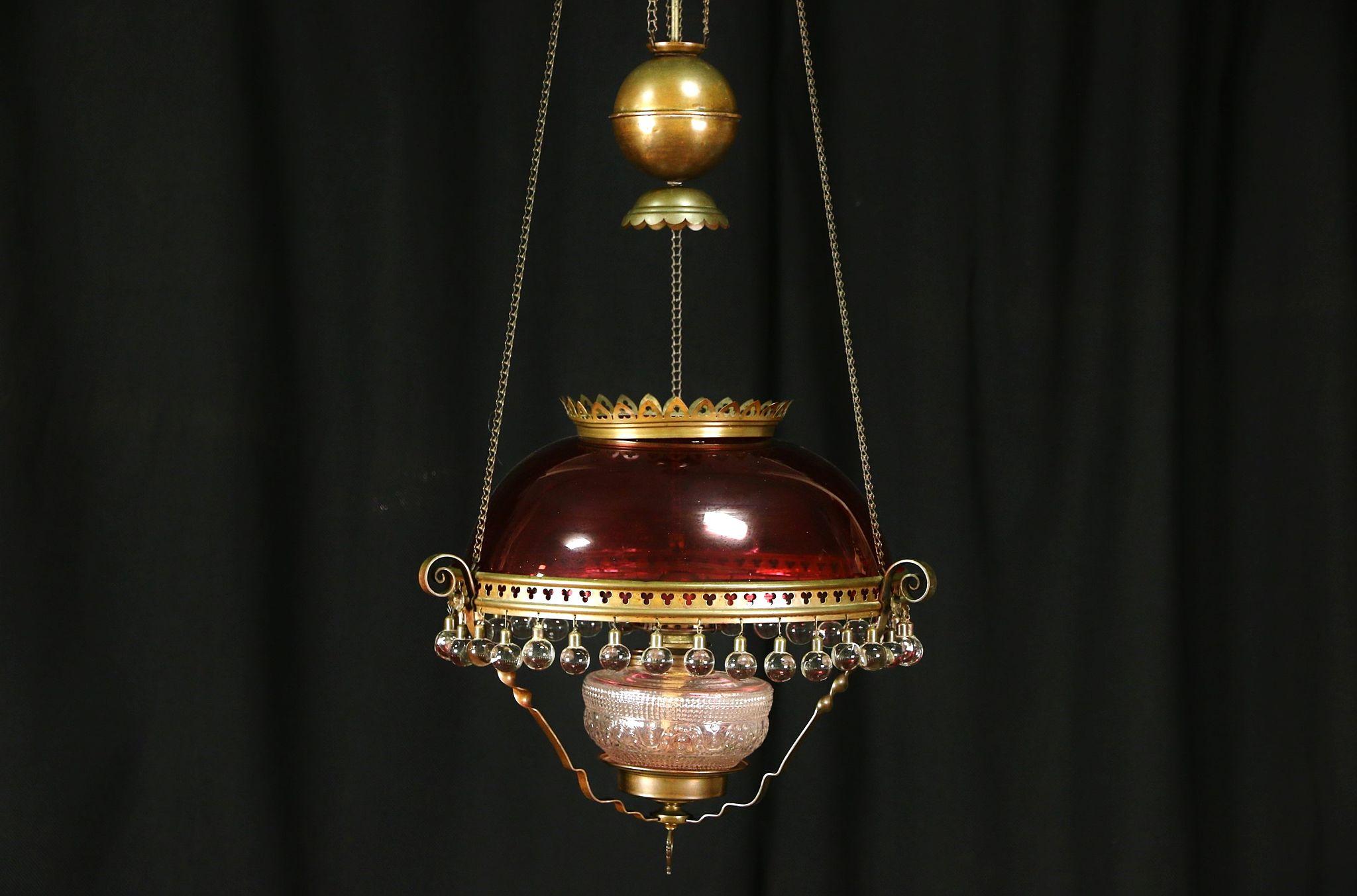 SOLD - Victorian 1880 Antique Hanging Light Kerosene Lamp, Cranberry ...