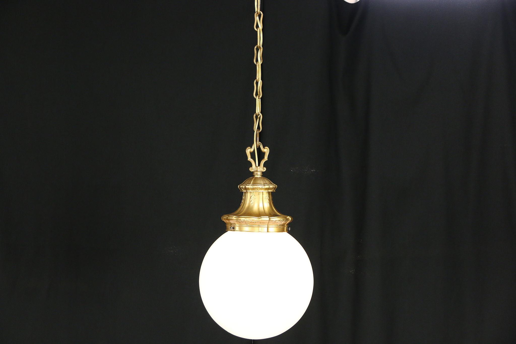 Sold pendant antique 1910 light fixture milk glass ball shade harp gallery