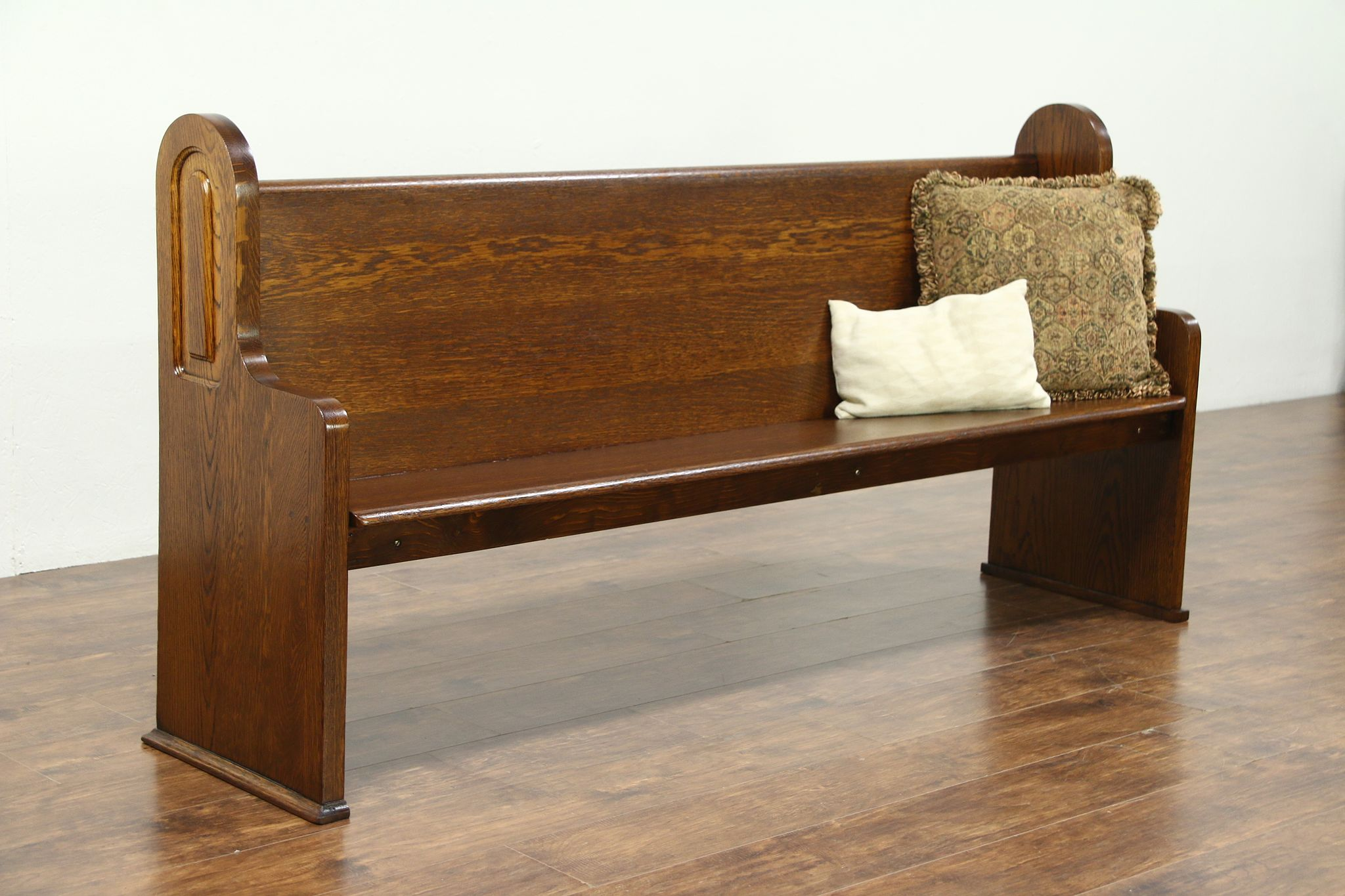 Cool Oak 1925 Vintage Church Pew Or Mudroom Hall Bench 76 Long Dailytribune Chair Design For Home Dailytribuneorg