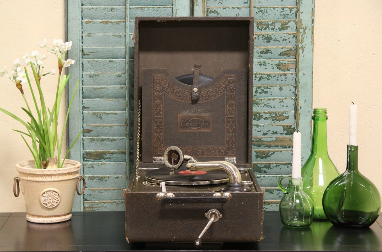 Photo 1 Cecilian Portable Wind Up Phonograph Record Player Photo 2