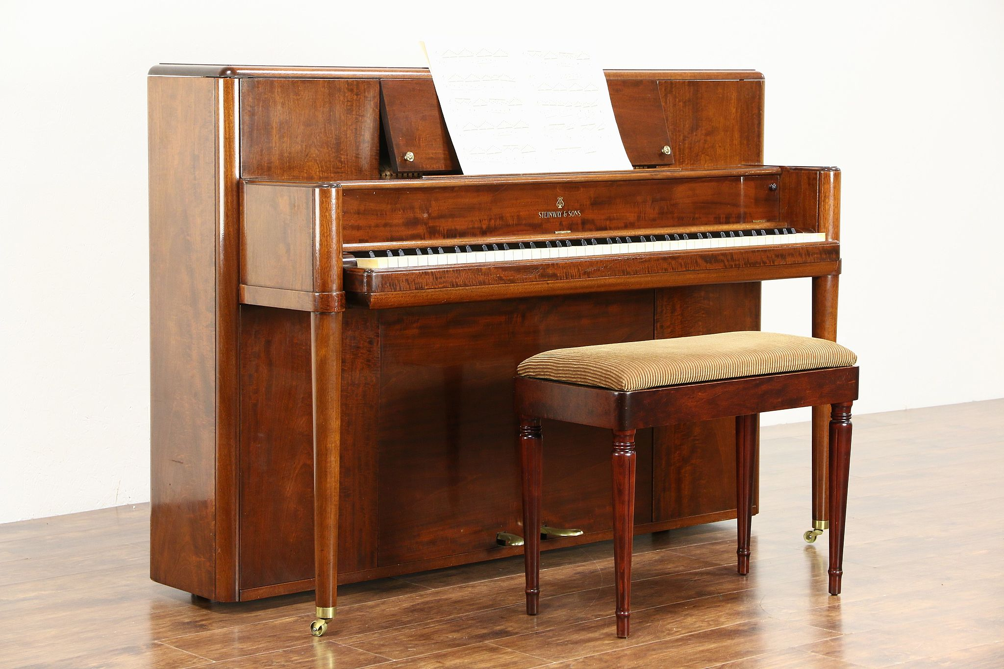 Steinway Signed 1942 Midcentury Modern Mahogany Console Piano With Bench