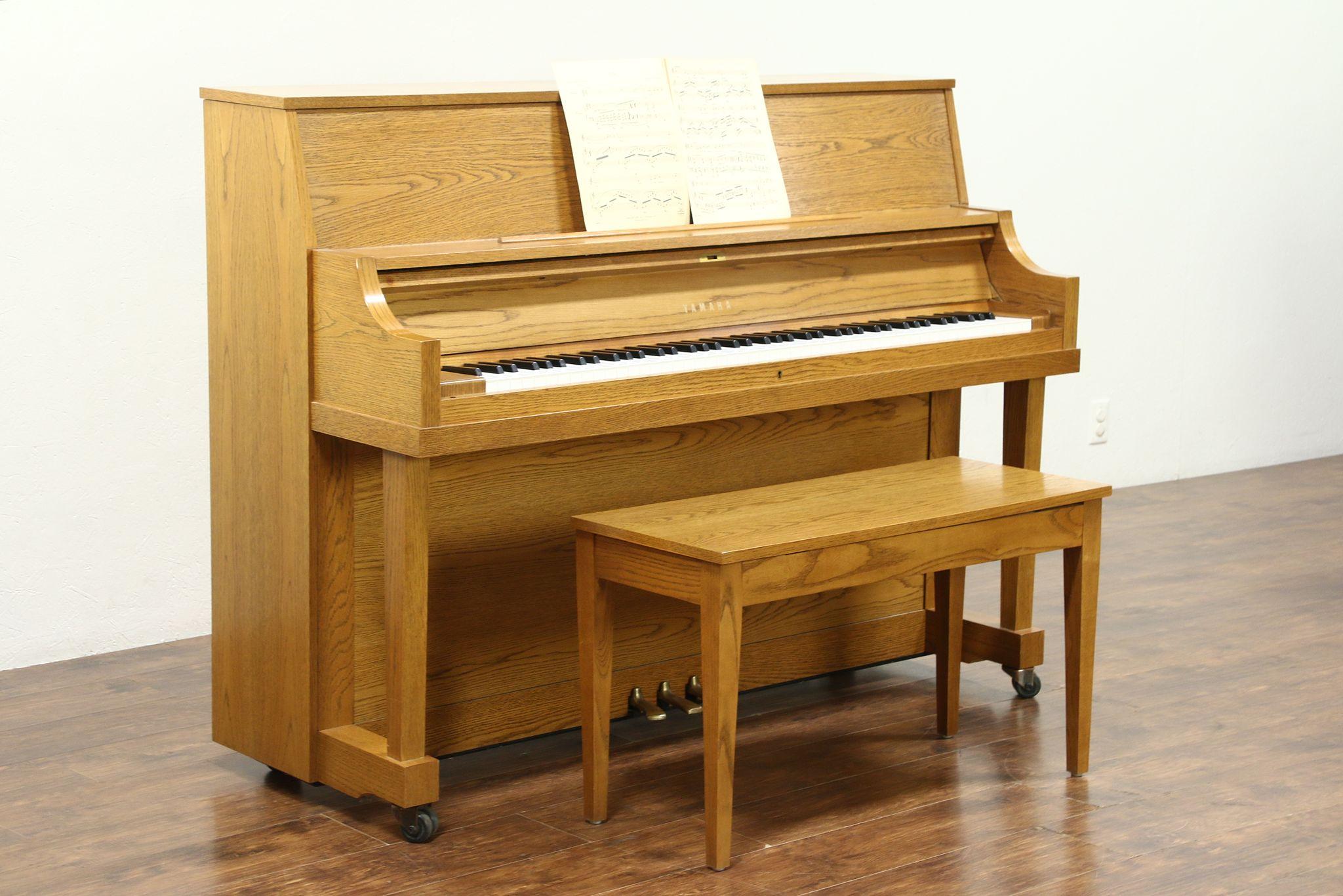 sold yamaha 45 upright oak 1995 model p22 piano bench 28637 harp gallery antiques. Black Bedroom Furniture Sets. Home Design Ideas
