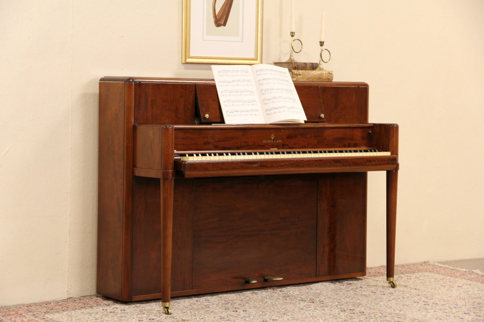 Steinway Console Upright 41 Midcentury Modern 1942 Vintage Mahogany Piano
