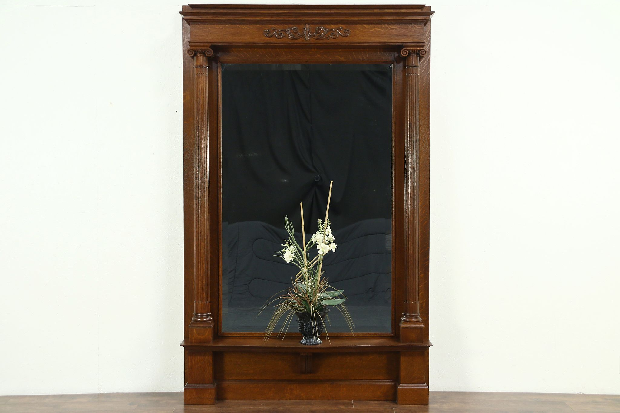 Oak Carved Antique Hall Pier Mirror Fluted Classical Columns Beveled Glass