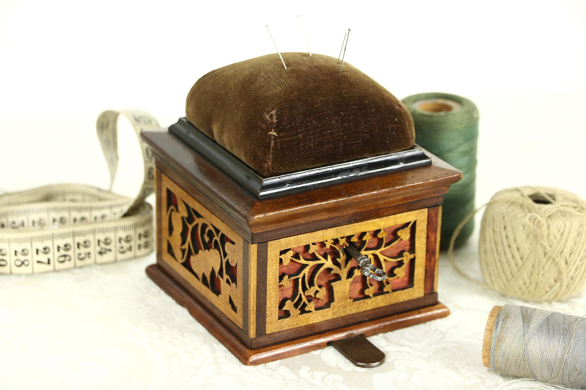 Victorian 1880u0027s Antique Jewelry Chest or Sewing Box Pin Cushion u0026 Key ...  sc 1 st  Harp Gallery & SOLD - Victorian 1880u0027s Antique Jewelry Chest or Sewing Box Pin ... Aboutintivar.Com