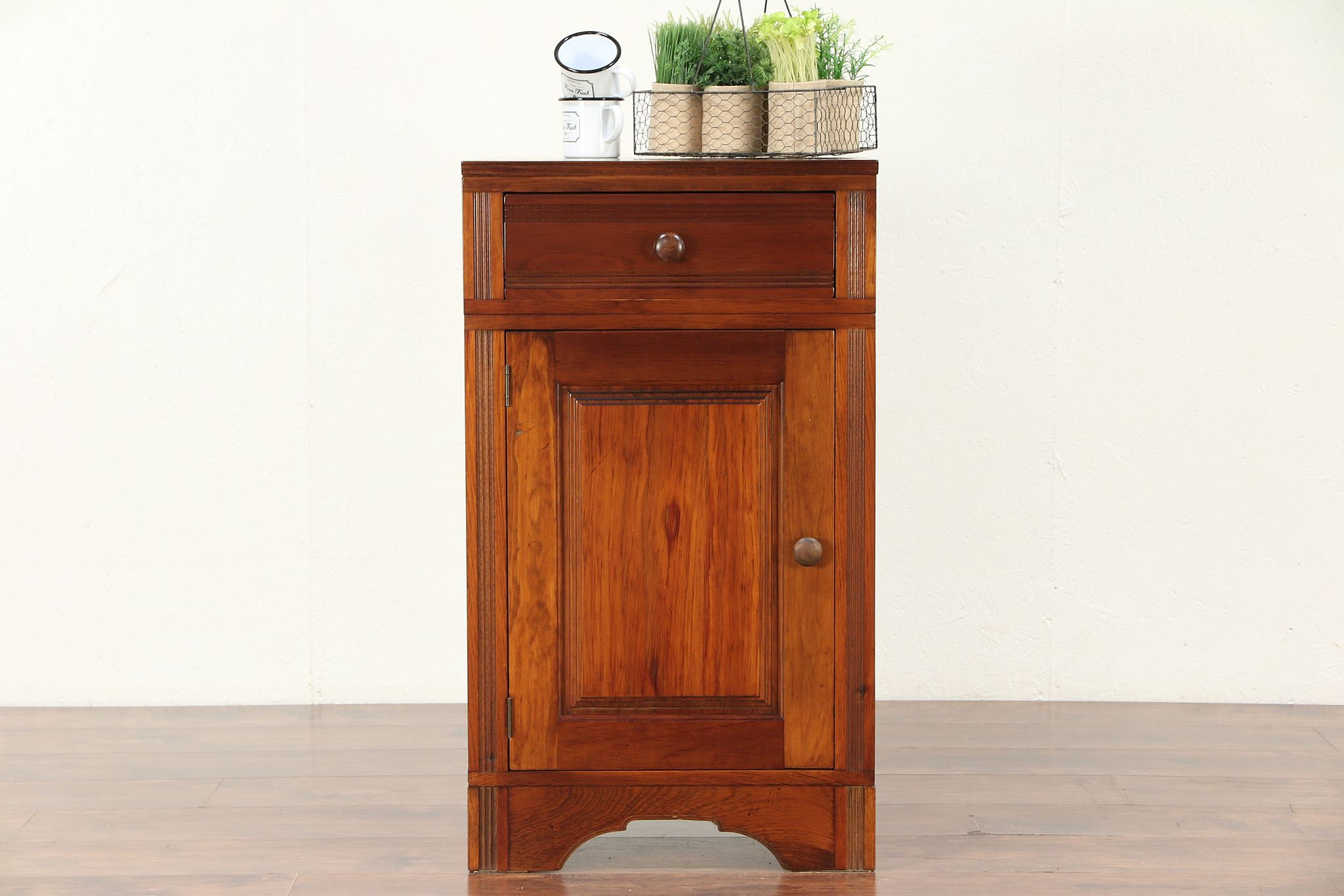 Country Pine Wainscoting Pantry Cabinet