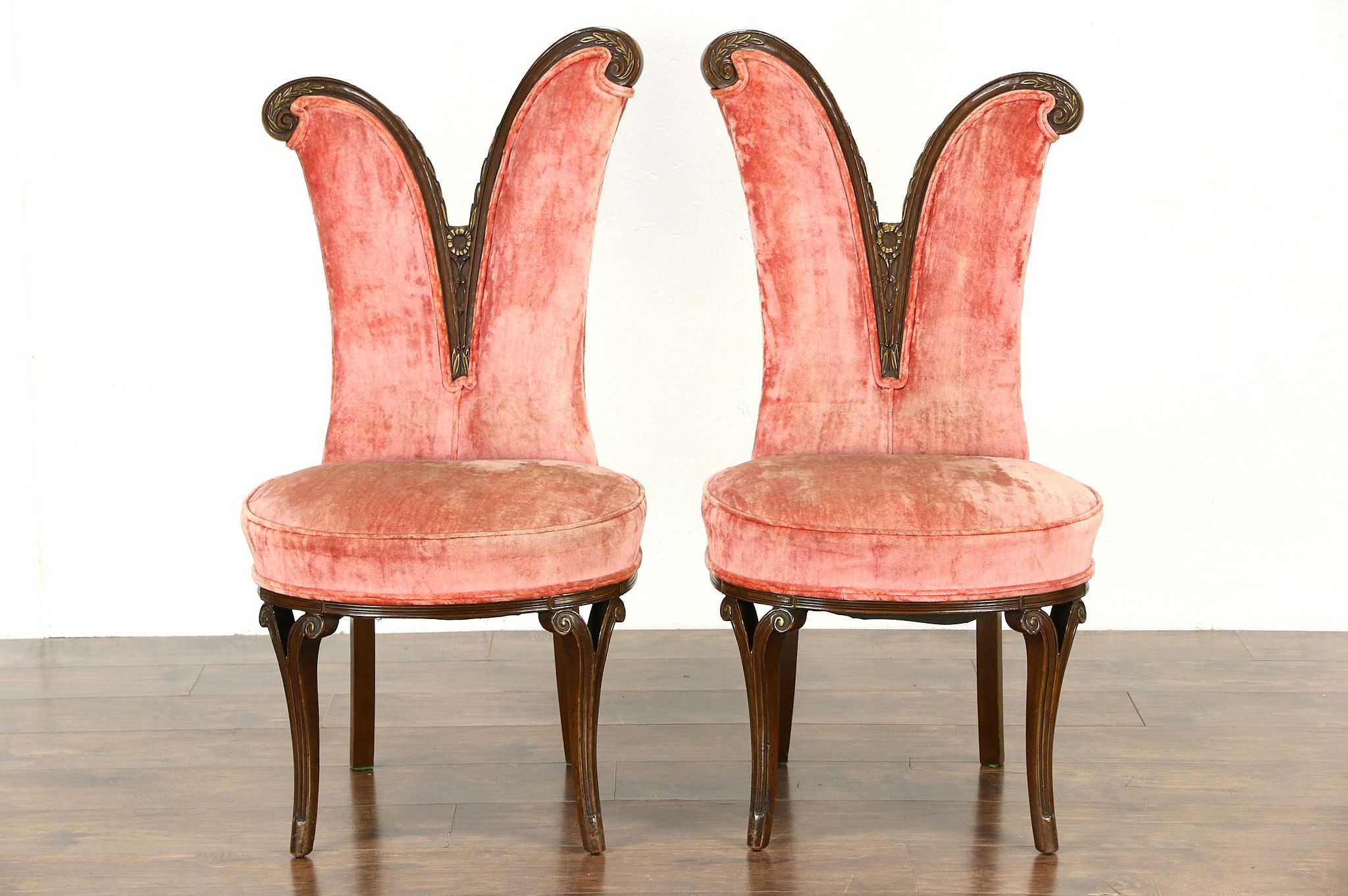 Beau Pair Hollywood Regency 1950 Vintage Accent Chairs, All Original