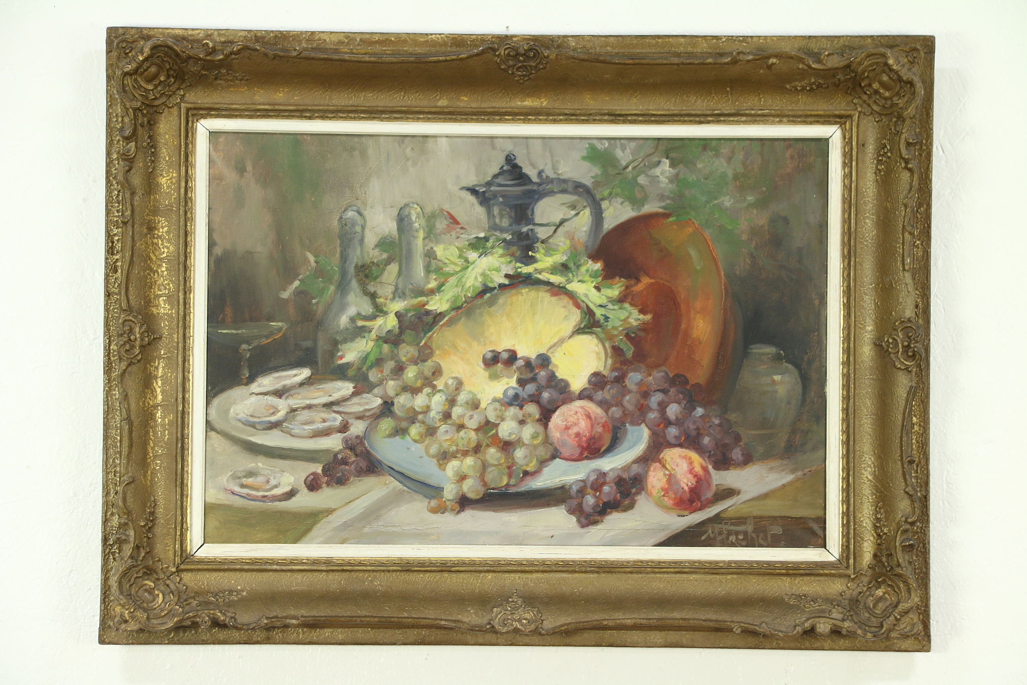 Oysters Amp Fruit Still Life Antique Oil Painting Carved Frame Signed France Harp