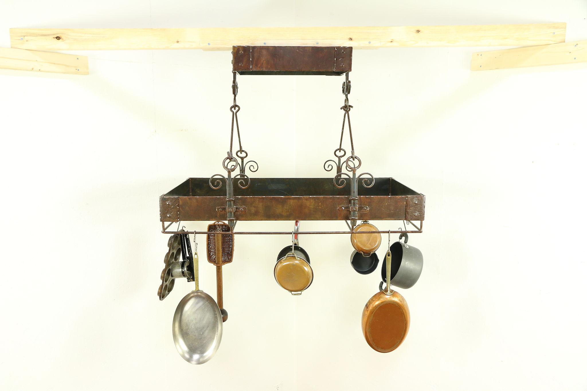 Wrought Iron Kitchen Hanging Pot Rack, Bronze Finish #30305