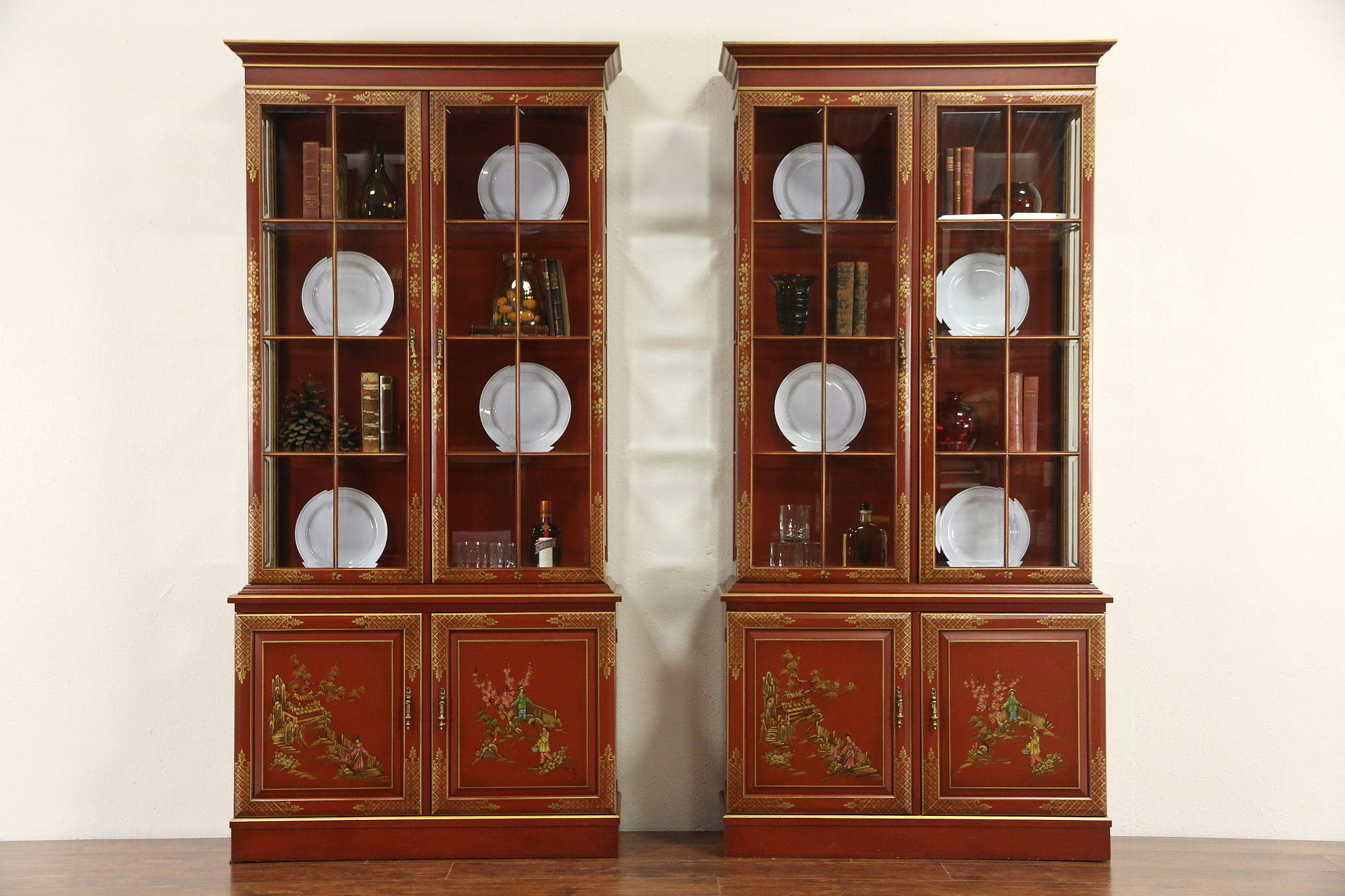 Pair Vintage Chinese Style Hand Painted Lacquer Curio Or China Cabinets Signed Photo