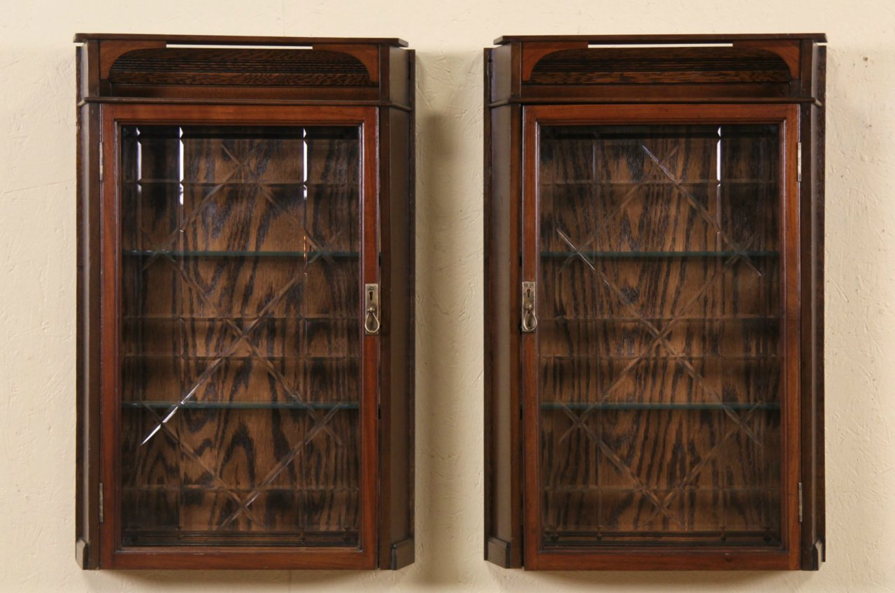 Pair Of 1890 S Antique Medicine Cabinets Or Hanging Cupboards Cut Gl Doors