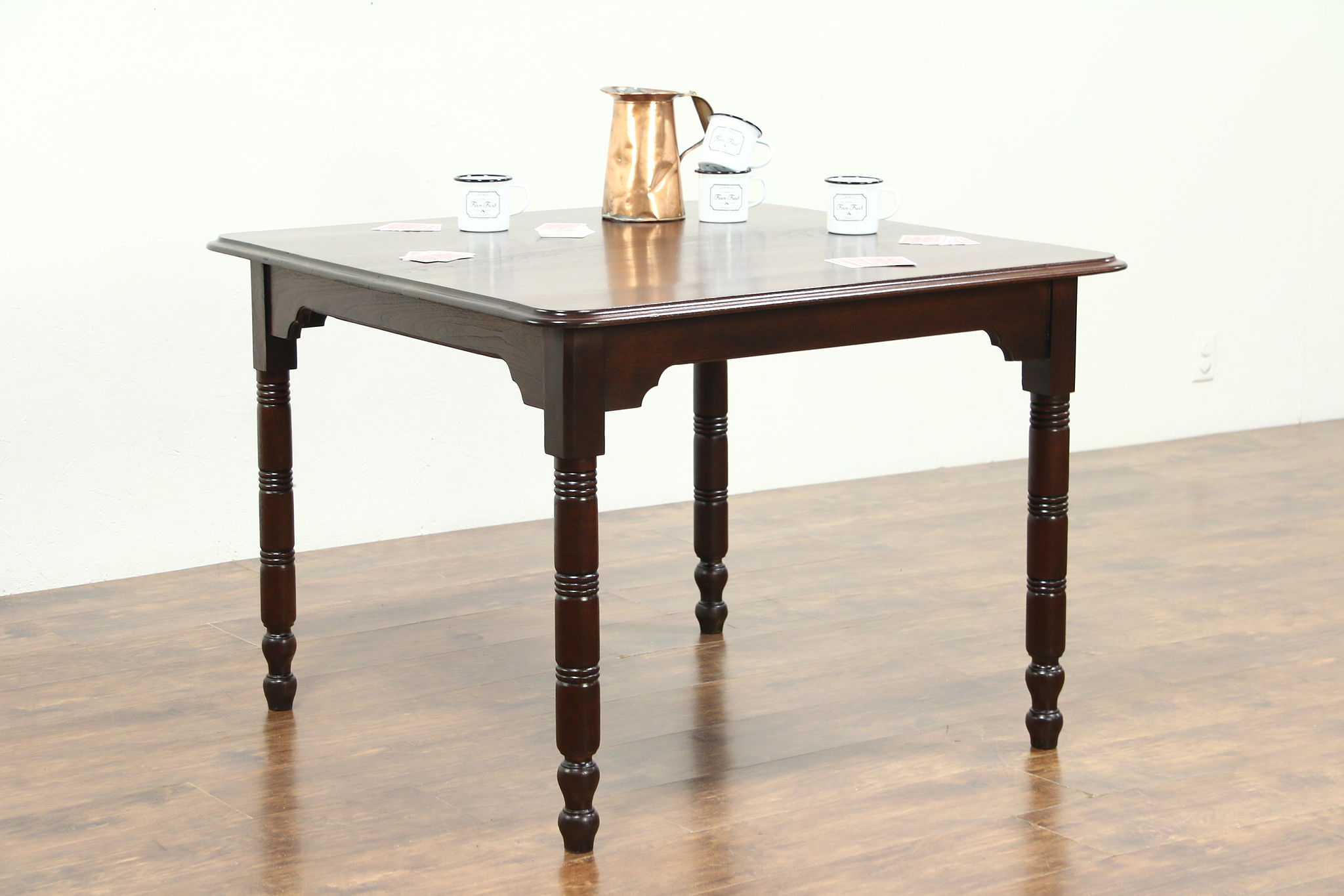 Bon Victorian 1880 Antique Walnut Pub Or Tavern Game Or Kitchen Dining Table ...