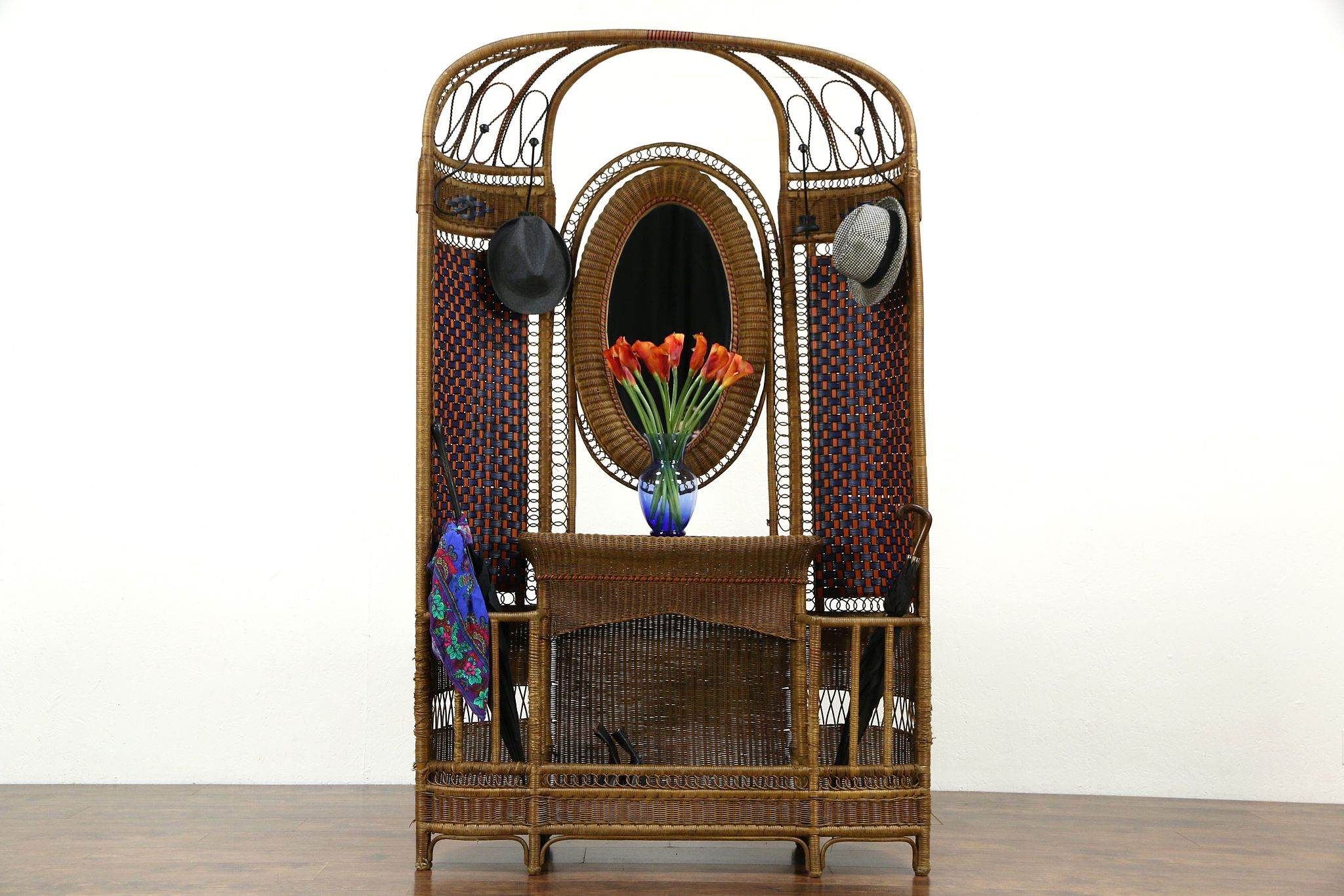 Sold French Wicker Rattan Antique Hall Stand Mirror Coat Hooks