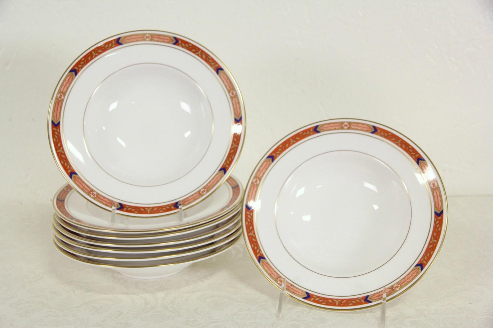Set of 8 Royal Worcester BEAUFORT RUST RED Soup Bowls