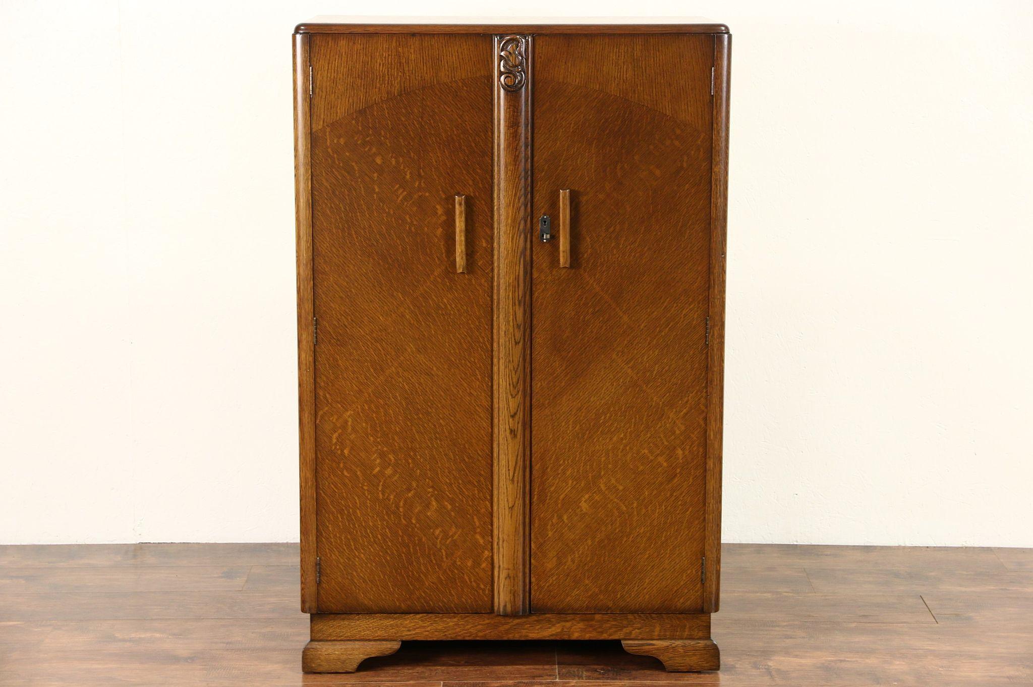 Photo 1 English Art Deco 1930u0027s Oak Armoire, Wardrobe ...