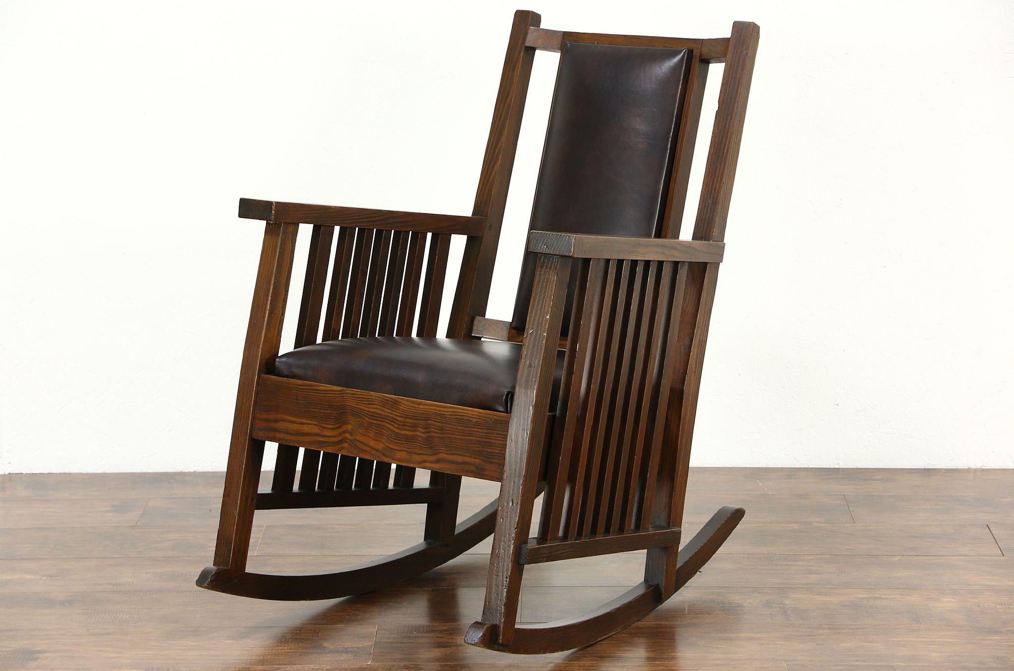 Arts U0026 Crafts Or Mission Pine Rocking Chair, Craftsman Rocker, ...