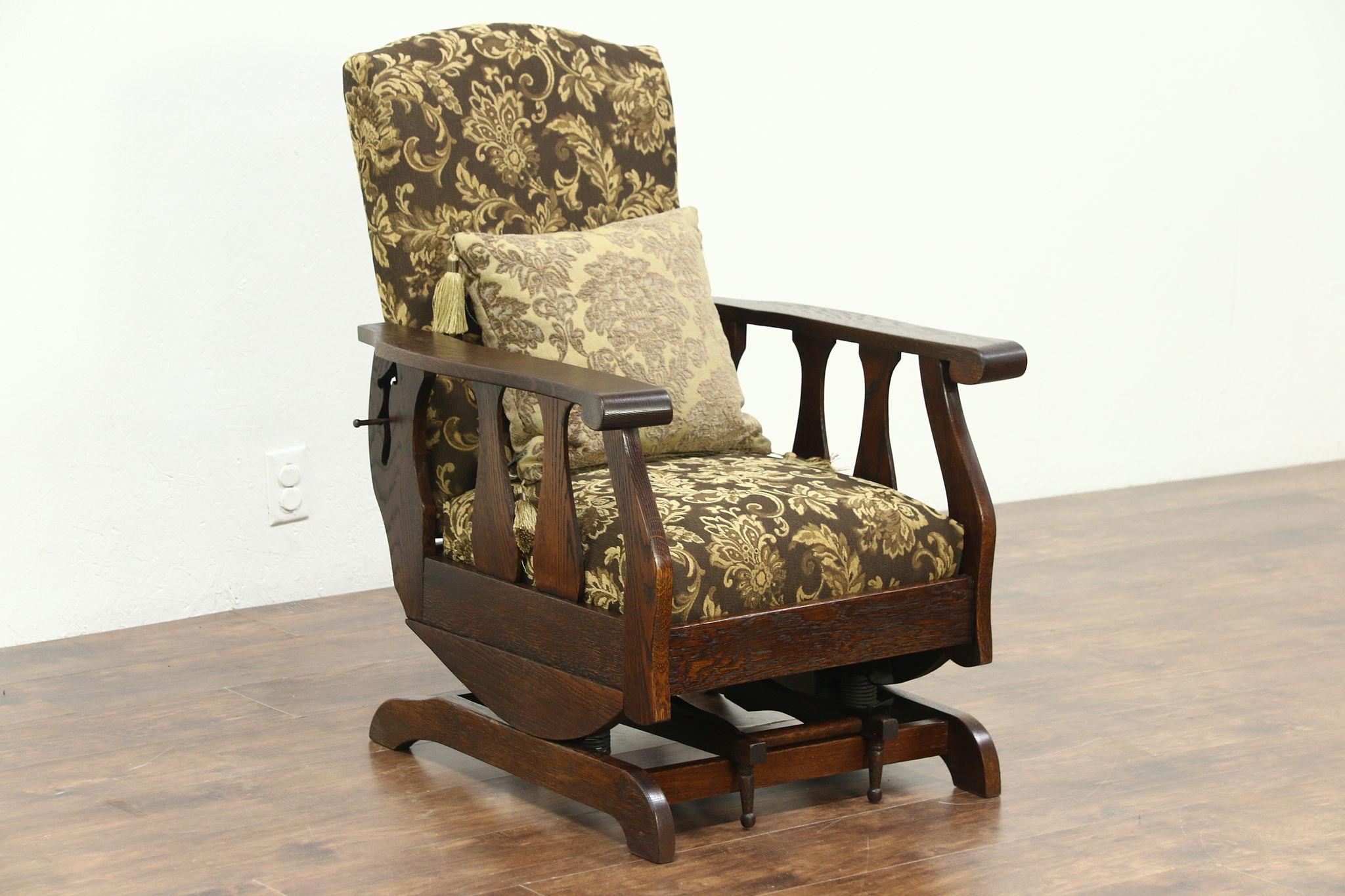 Pleasing Oak Antique Morris Chair Recliner Platform Rocker Footstool New Upholstery Inzonedesignstudio Interior Chair Design Inzonedesignstudiocom