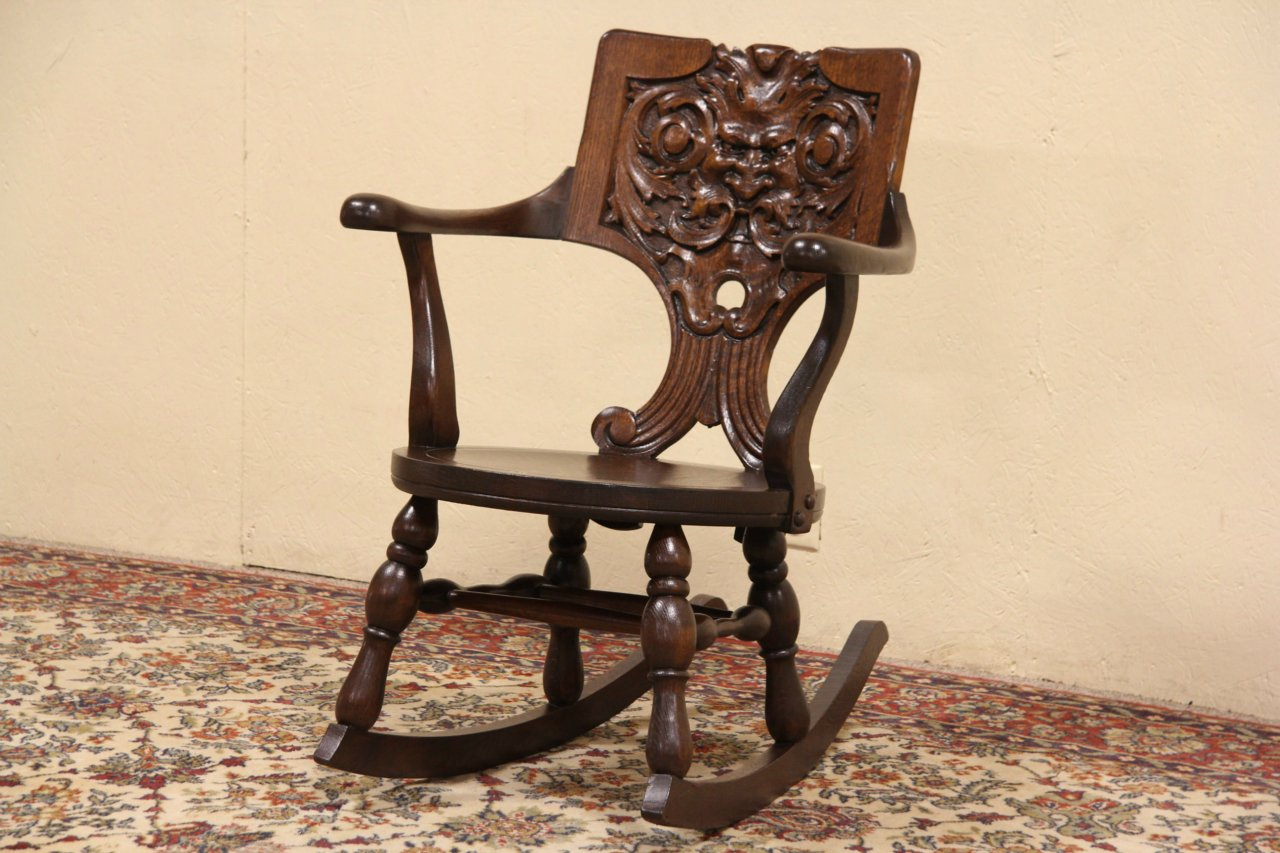 North Wind Carved Oak Signed Early 1900's Antique Rocker - SOLD - North Wind Carved Oak Signed Early 1900's Antique Rocker
