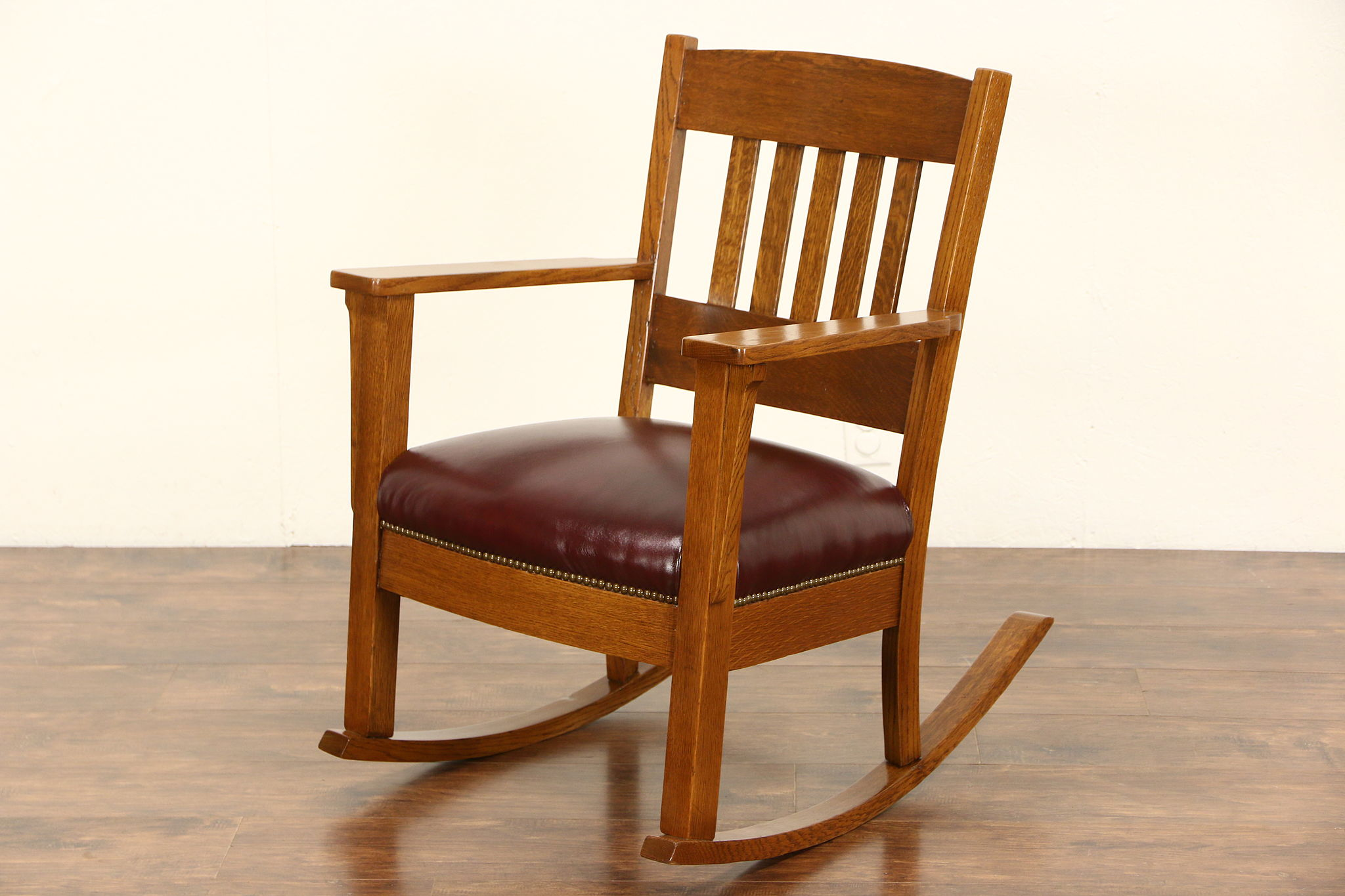 Rocker Arts u0026 Crafts Mission Oak Antique 1905 Rocking Chair New Leather & SOLD - Rocker Arts u0026 Crafts Mission Oak Antique 1905 Rocking Chair ...