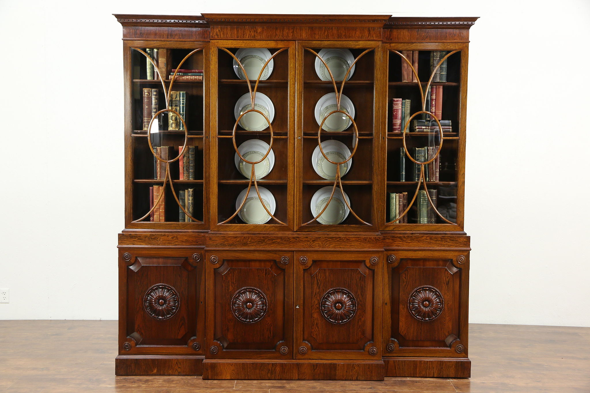 Charmant Rosewood Vintage Classical Breakfront China Cabinet Or Bookcase, Convex  Glass