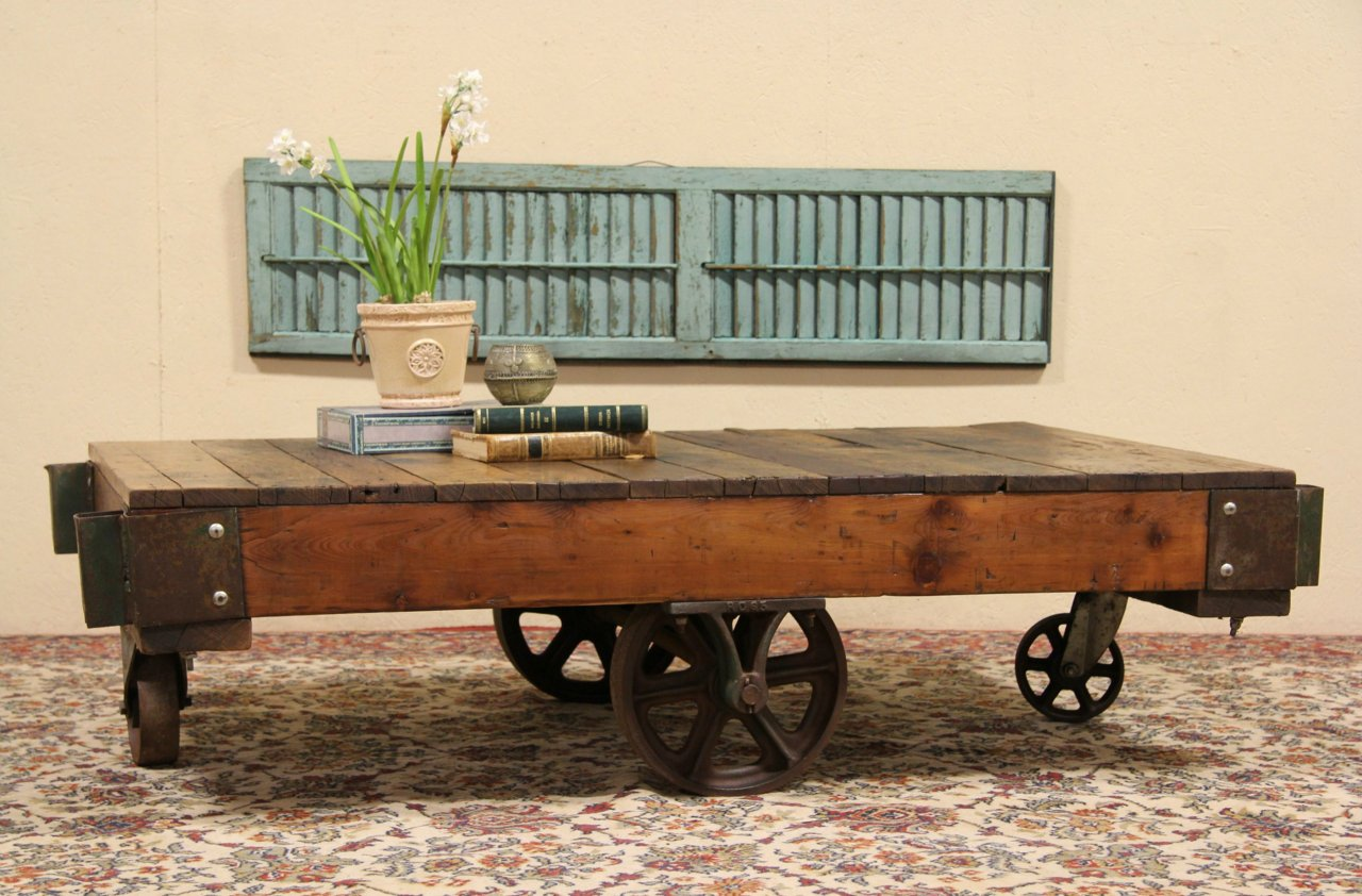 Sold industrial salvage antique factory cart or coffee for Cart coffee table