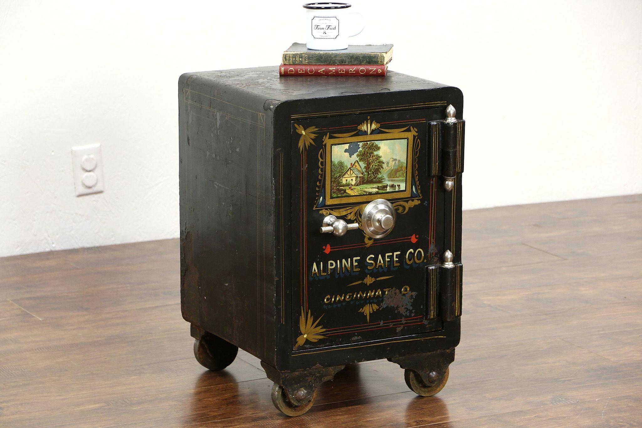Sold Iron Antique Safe Signed Alpine Of Cincinnati Oh