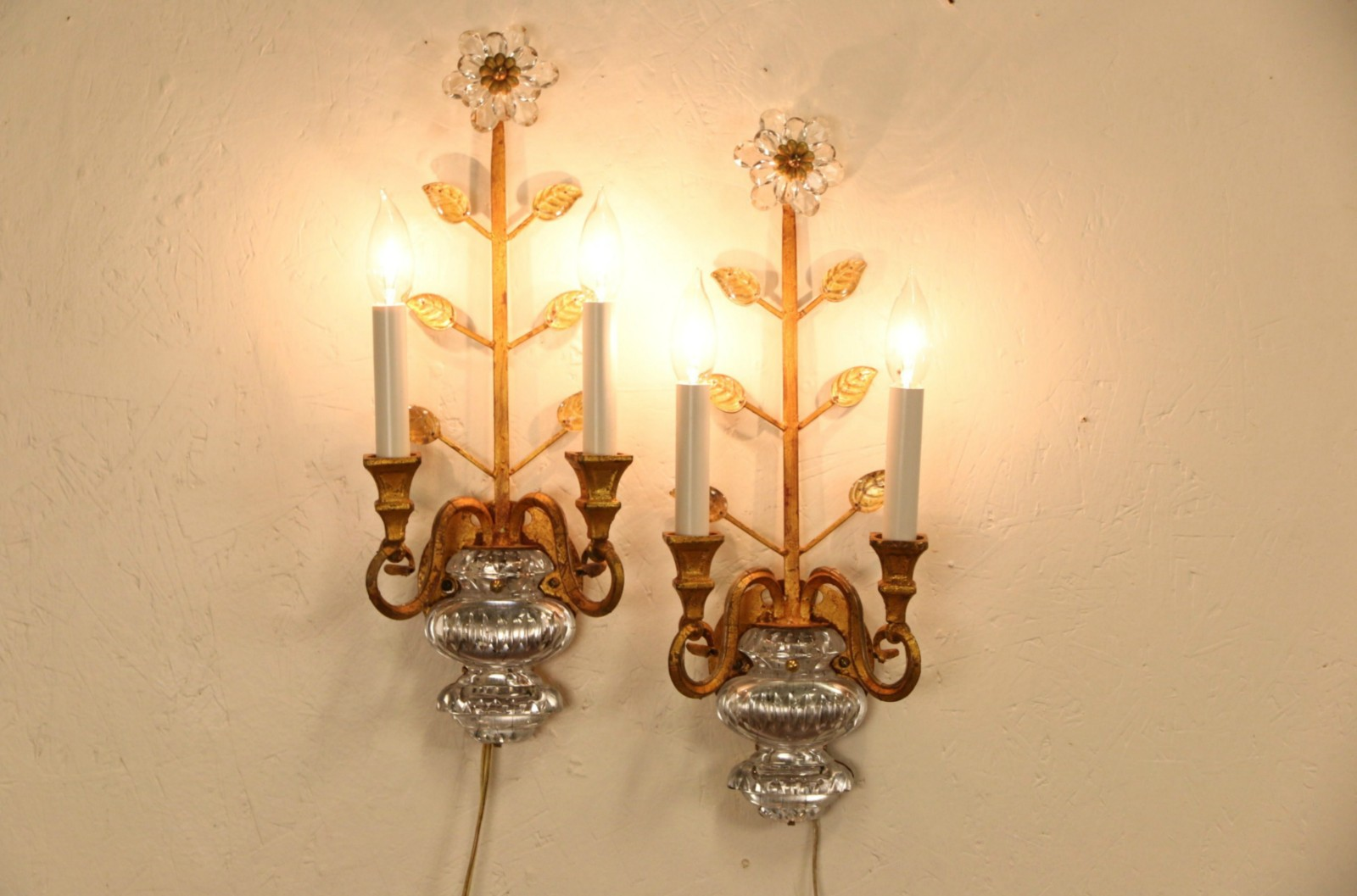 Sold Pair Of Italian Vintage Gold Amp Crystal Wall Sconce