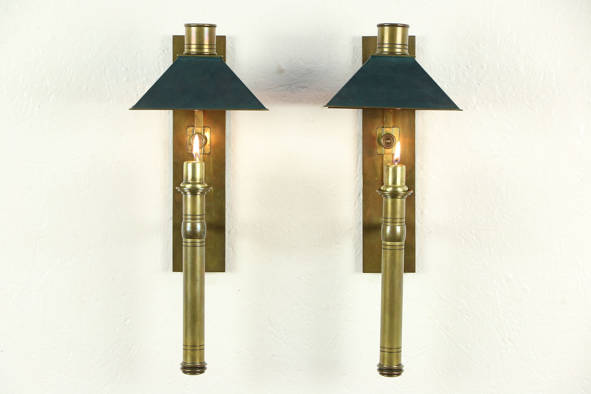Sold pair of brass arts crafts antique 1900 wall candle pair of brass arts crafts antique 1900 wall candle sconces amipublicfo Image collections