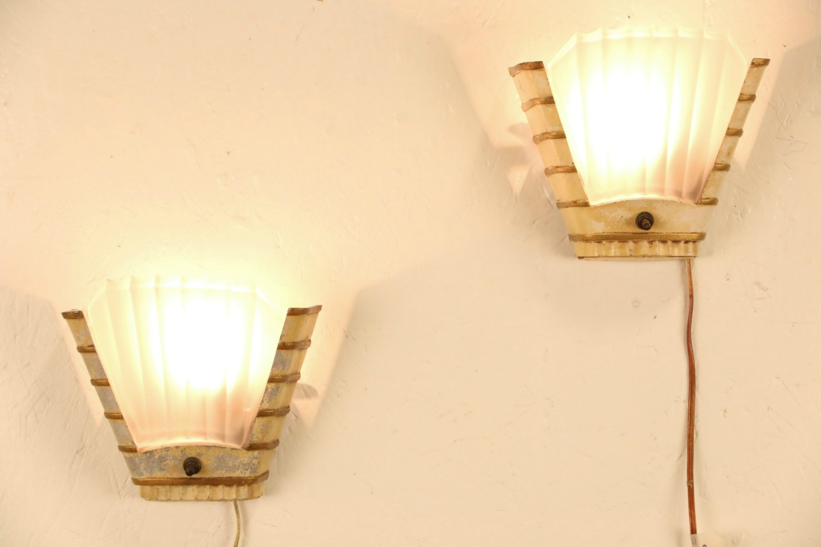SOLD - Art Deco 1930 Vintage Pair of Wall Sconces, Original Frosted ...