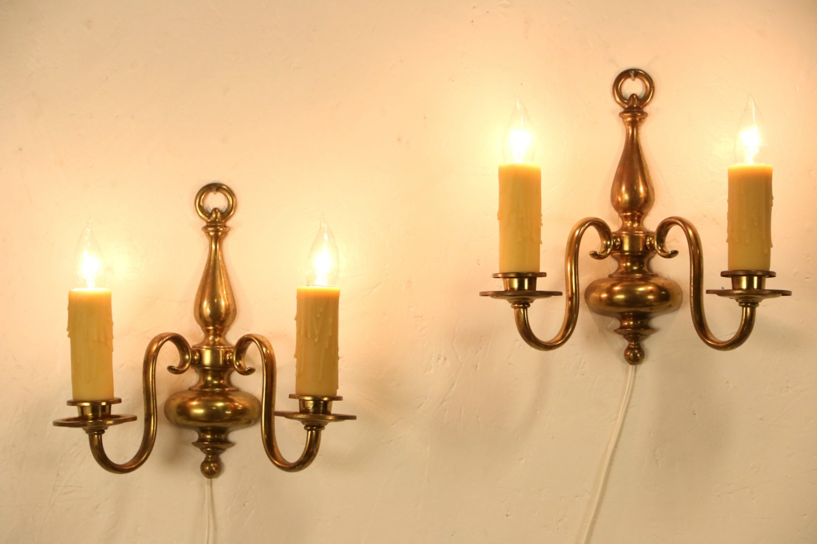 Wall Sconces For Wax Candles : SOLD - Pair of 1910 Antique Brass Wall Sconce Lights, Beeswax Candles - Harp Gallery Antique ...