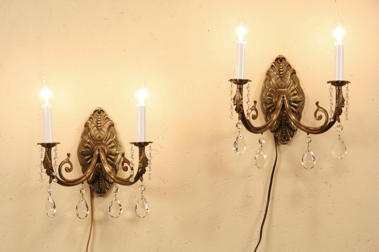 Sold Pair Of 1930s Vintage Brass Wall Sconce Lights Crystal