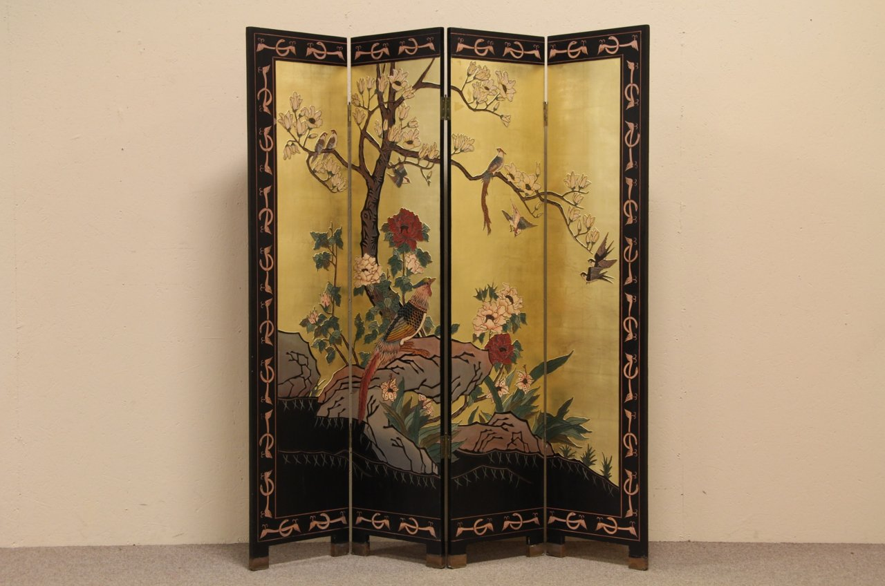 Sold Chinese 4 Panel Hand Painted Coromandel Screen A Tr