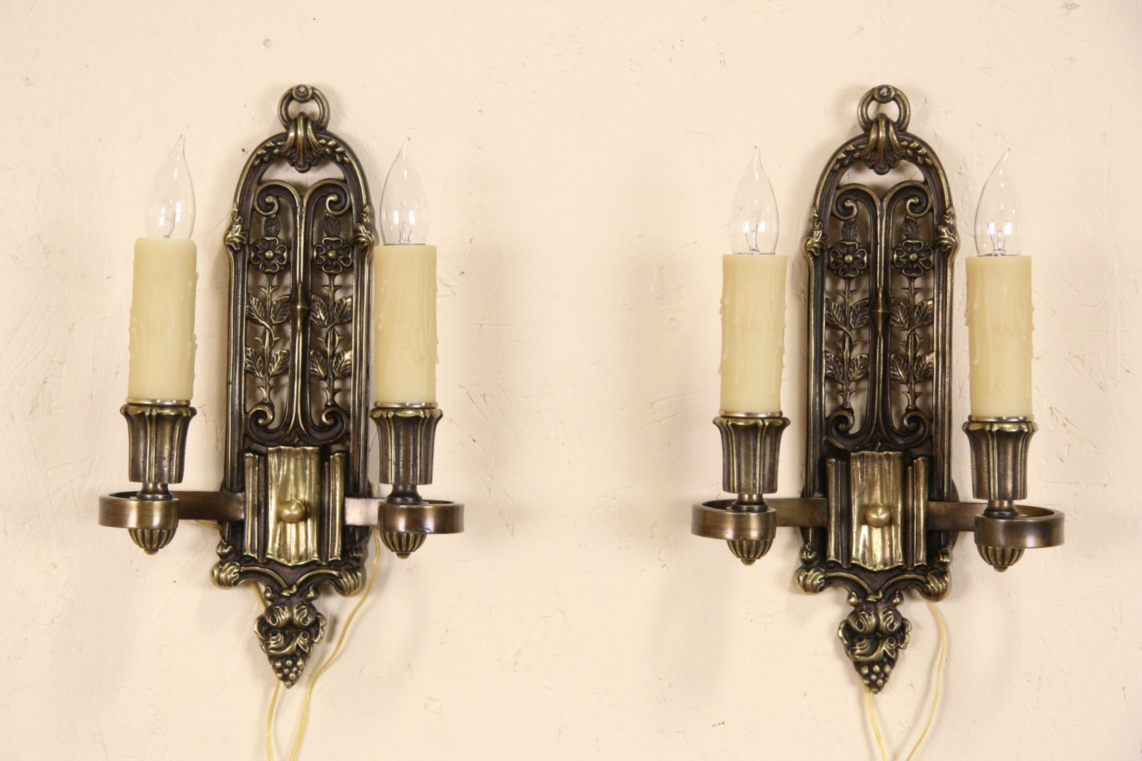 Bronze Wall Sconces For Candles : SOLD - Pair of Bronze Vintage Double Wall Sconces or Lights, Beeswax Candles - Harp Gallery ...