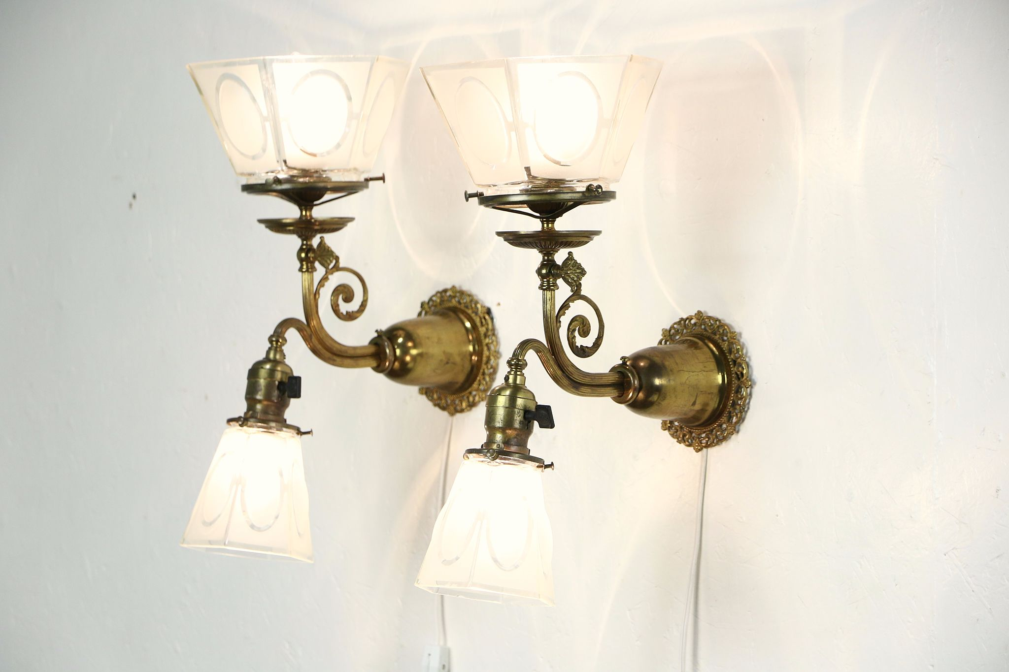 Brass Pair Of Antique Wall Sconce Lights Gas Electric Etched Shades