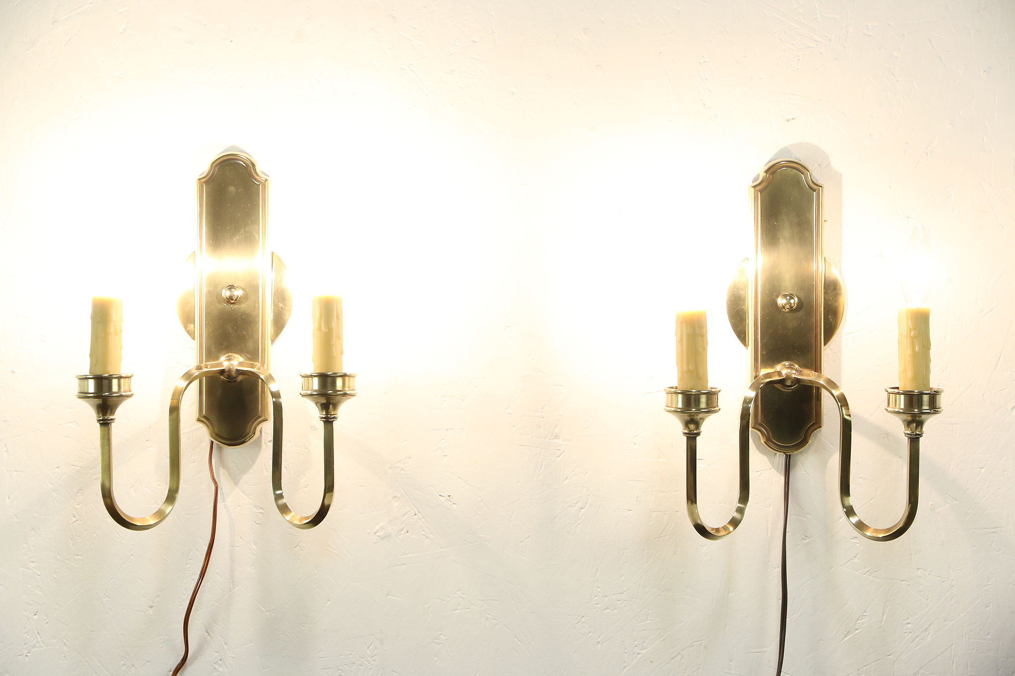 Wall Sconces For Wax Candles : Pair of Beeswax 2 Candle Bronze Finish Wall Sconce Lights, Hurricane Shades - Harp Gallery ...