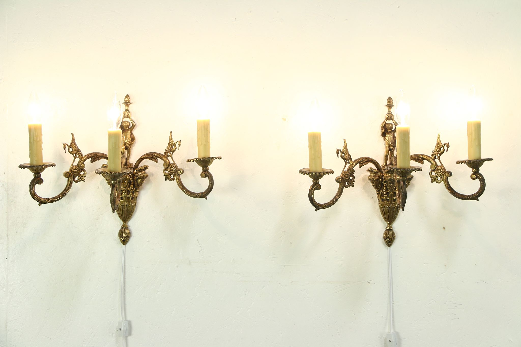 Pair Vintage Br Triple Wall Sconce Lights Figures Faces Birds