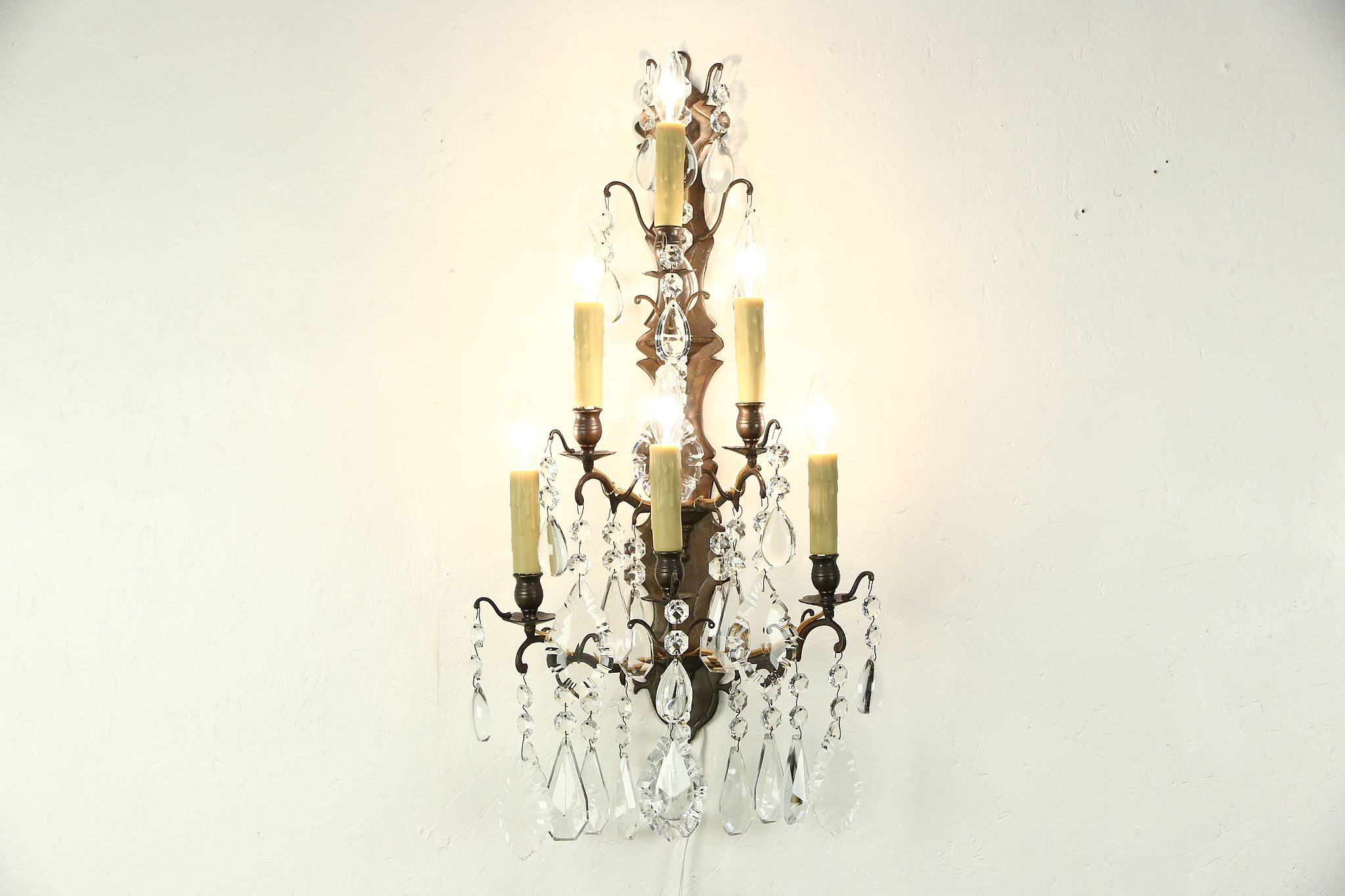 Sold Crystal Amp Brass 6 Candle 1890 S Antique Wall Sconce