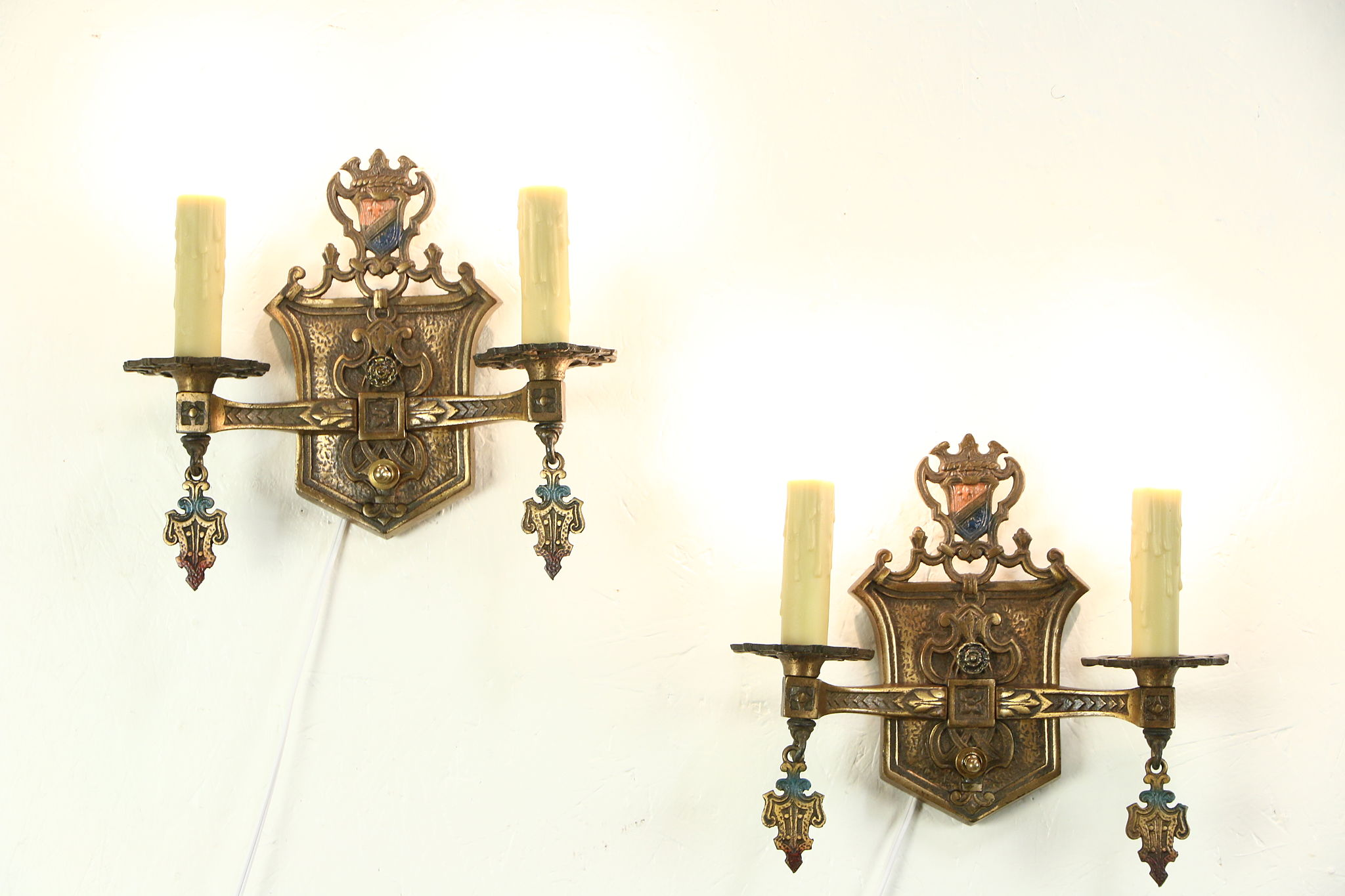 antique wall p pair double concetta sconce lights brass