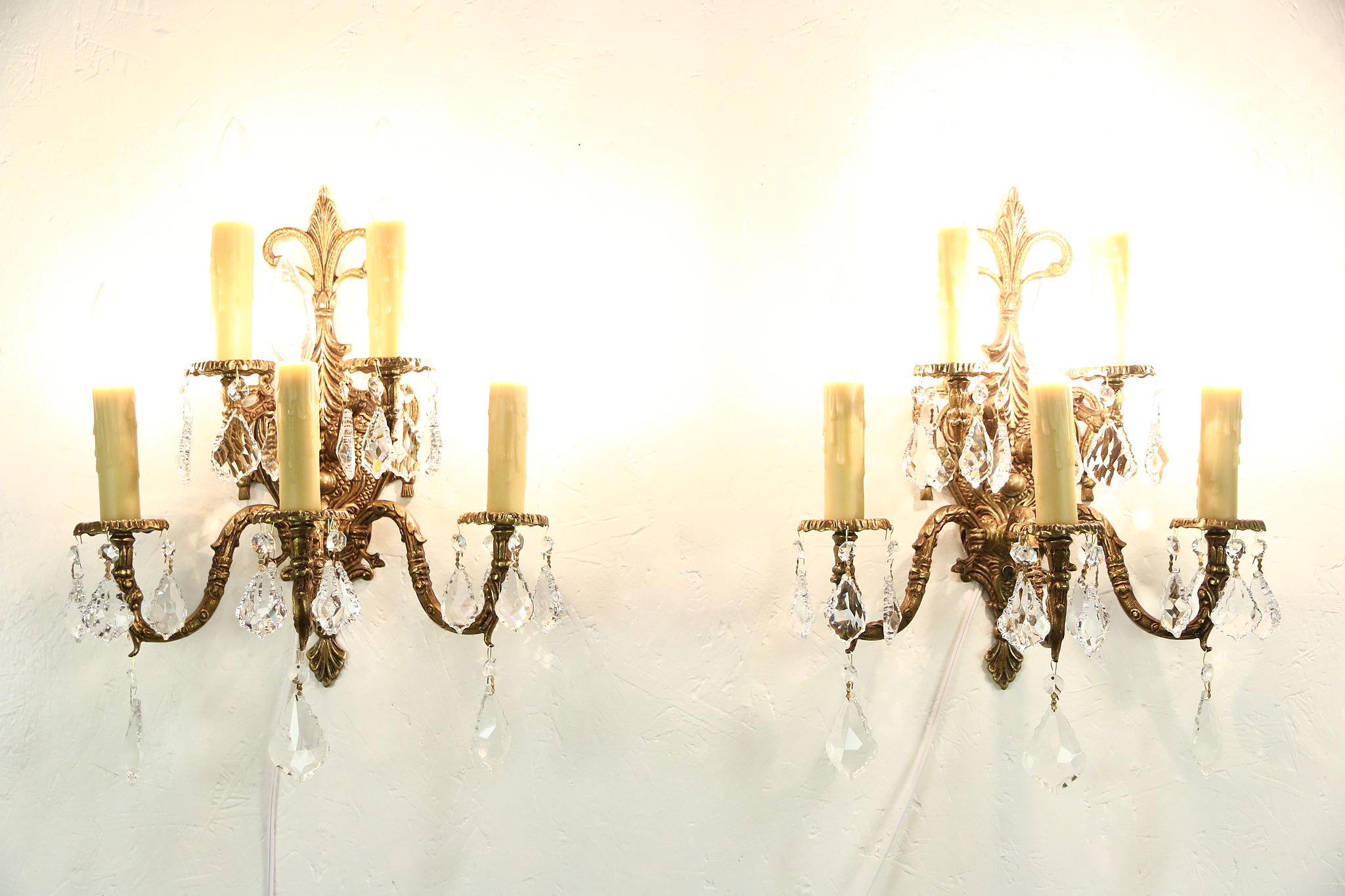Pair Of Vintage Bronze 5 Candle Wall Sconce Light Fixtures Crystal Prisms